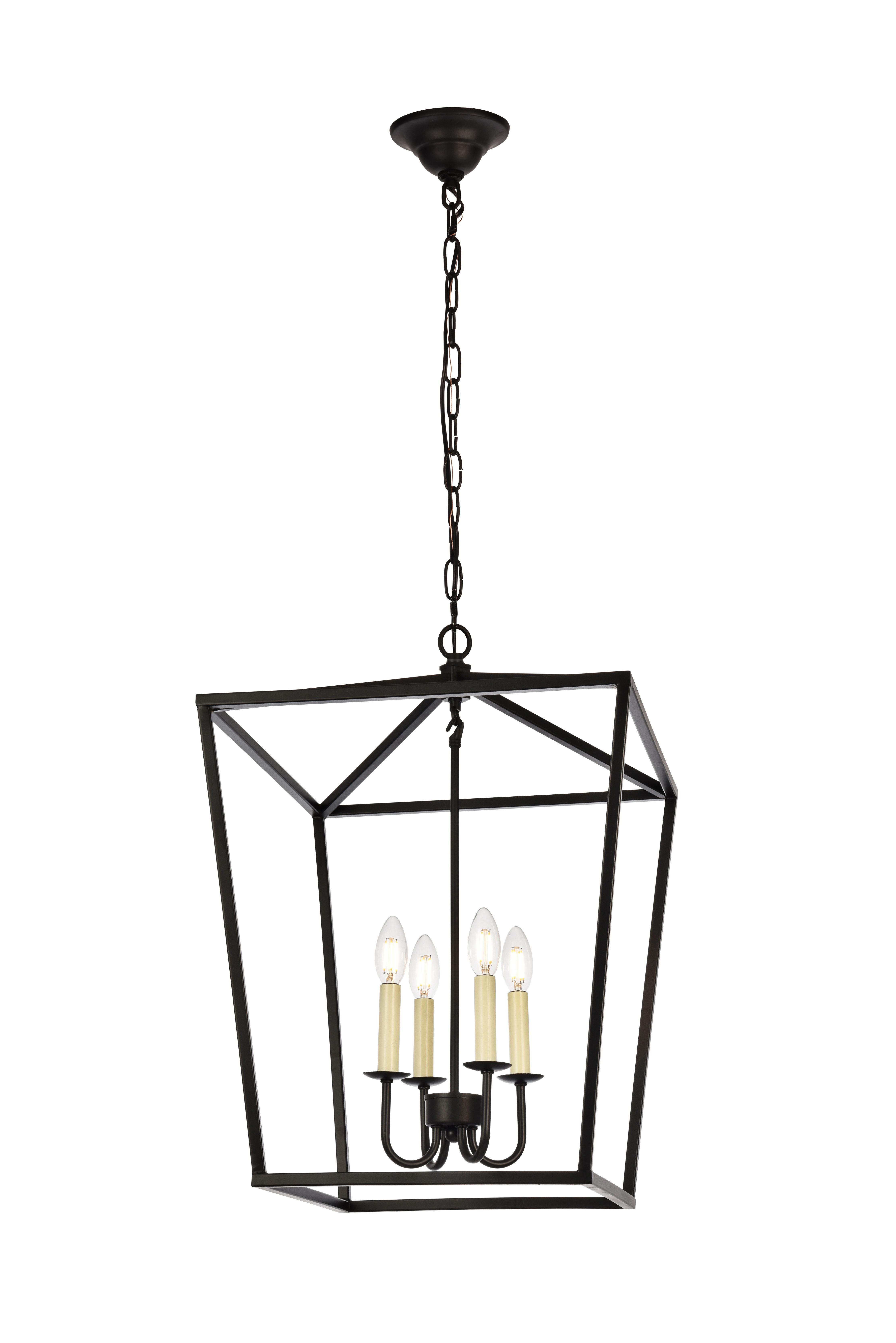 Finnick 4-Light Foyer Pendant regarding Odie 8-Light Lantern Square / Rectangle Pendants (Image 8 of 30)