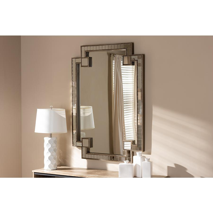 Fiorella Modern And Contemporary Antique Silver Finished Studded Accent Wall Mirrorbaxton Studio Regarding Beaded Accent Wall Mirrors (View 11 of 30)