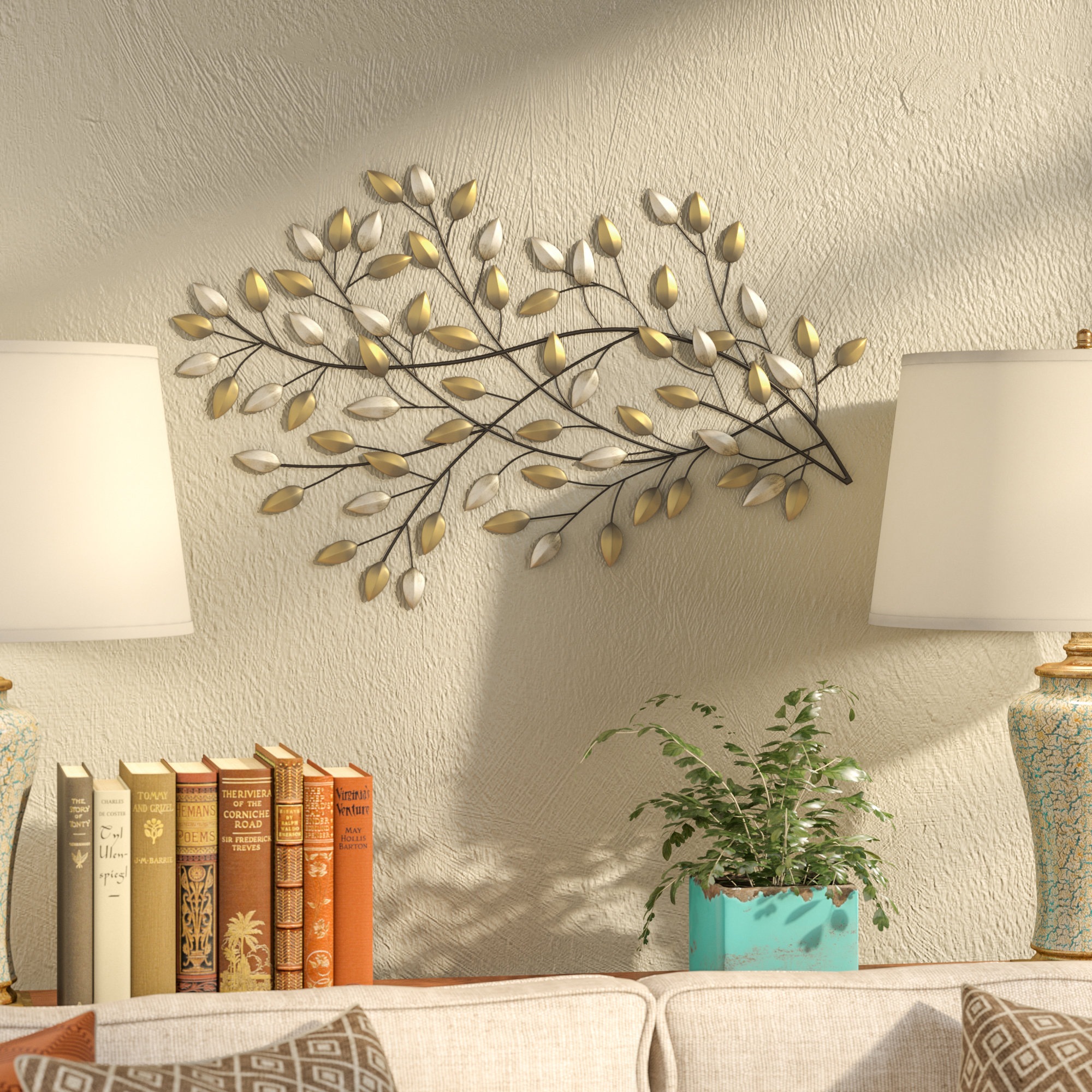 Fleur De Lis Living Blowing Leaves Wall Décor & Reviews with Desford Leaf Wall Decor (Image 12 of 30)