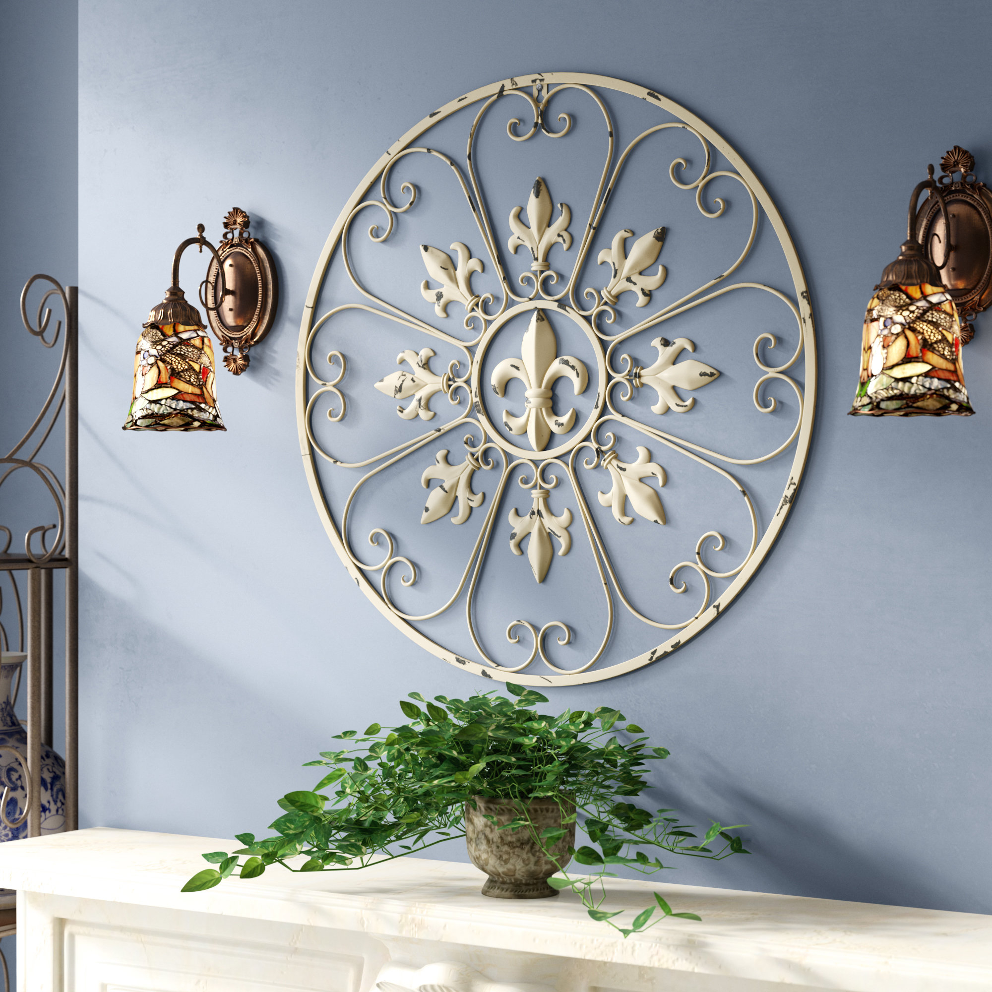 Fleur De Lis Living Gracie Fleur De Lis Circular Metal Wall Regarding 2 Piece Metal Wall Decor Sets By Fleur De Lis Living (View 2 of 30)