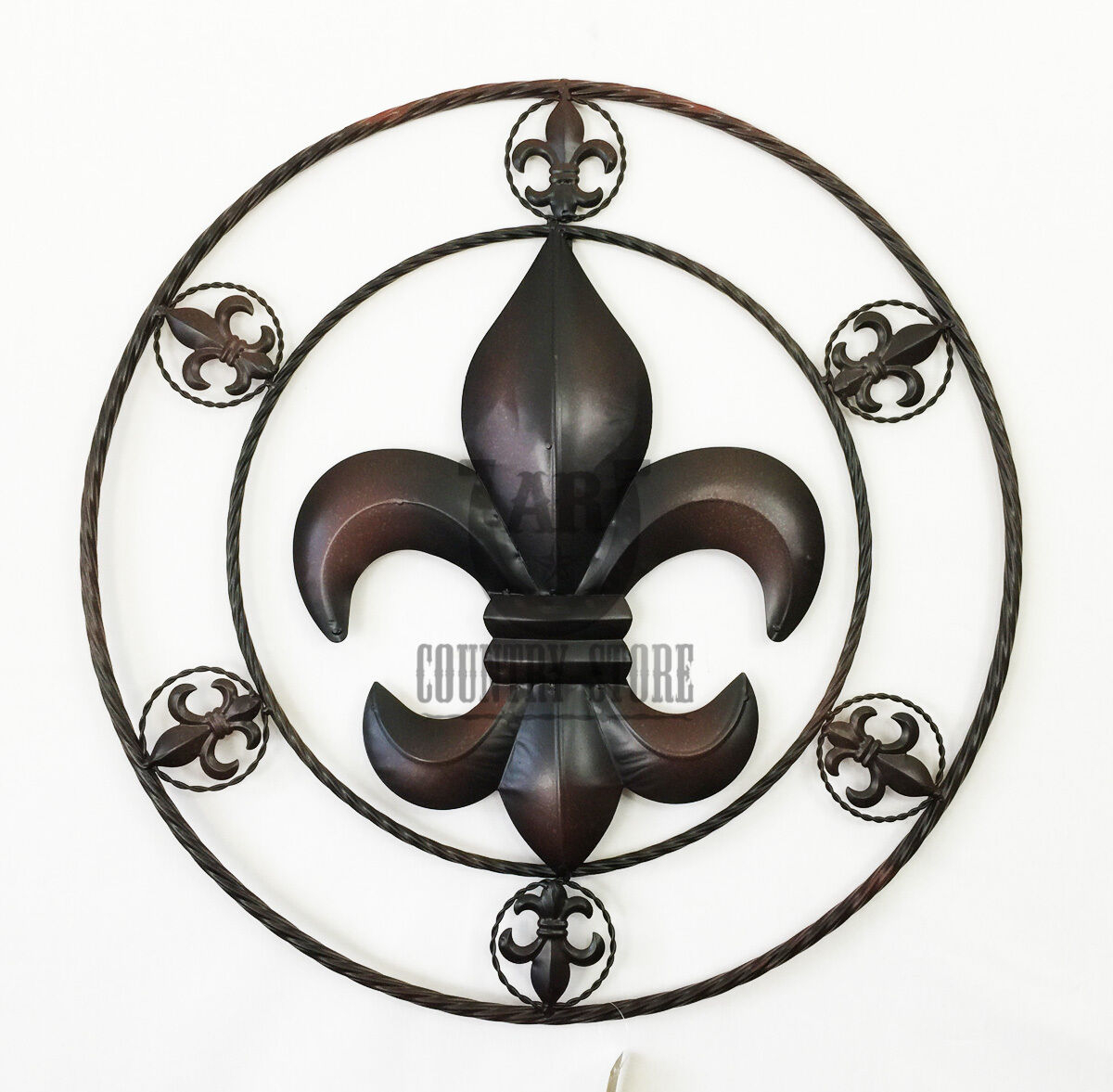 """Fleur De Lis Metal Rope Circle Western Rustic Country Art Wall Hanging Sign 25"""" Throughout Metal Rope Wall Sign Wall Decor (View 17 of 30)"""