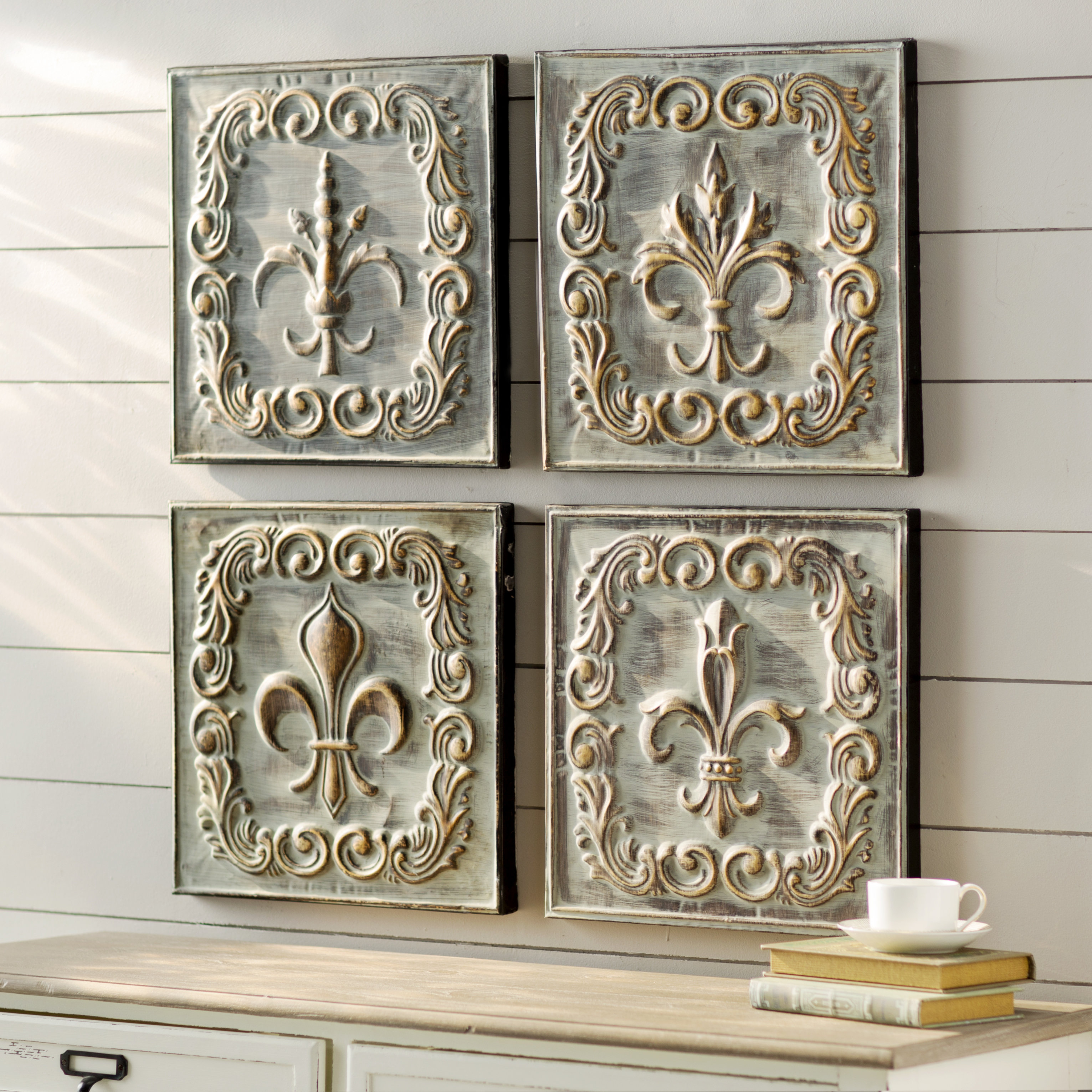 Fleur De Lis Metal Wall Art | Wayfair Within 4 Piece Metal Wall Plaque Decor Sets (View 8 of 30)