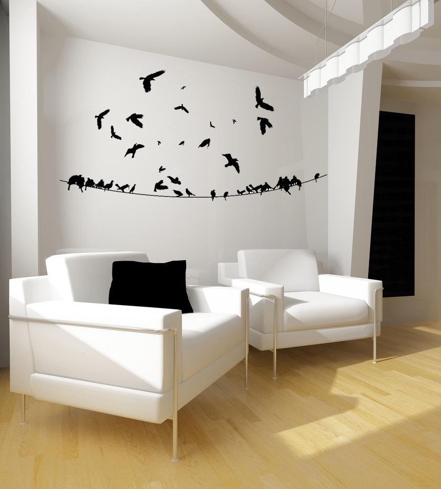 Flock Of Birds, Birds On A Wire Wall Art, Bird Decal, Bird Decor, Birds In Flight, Vinyl Sticker, Home Decor, Office Decor, Bedroom Decor In Birds On A Wire Wall Decor (View 23 of 30)