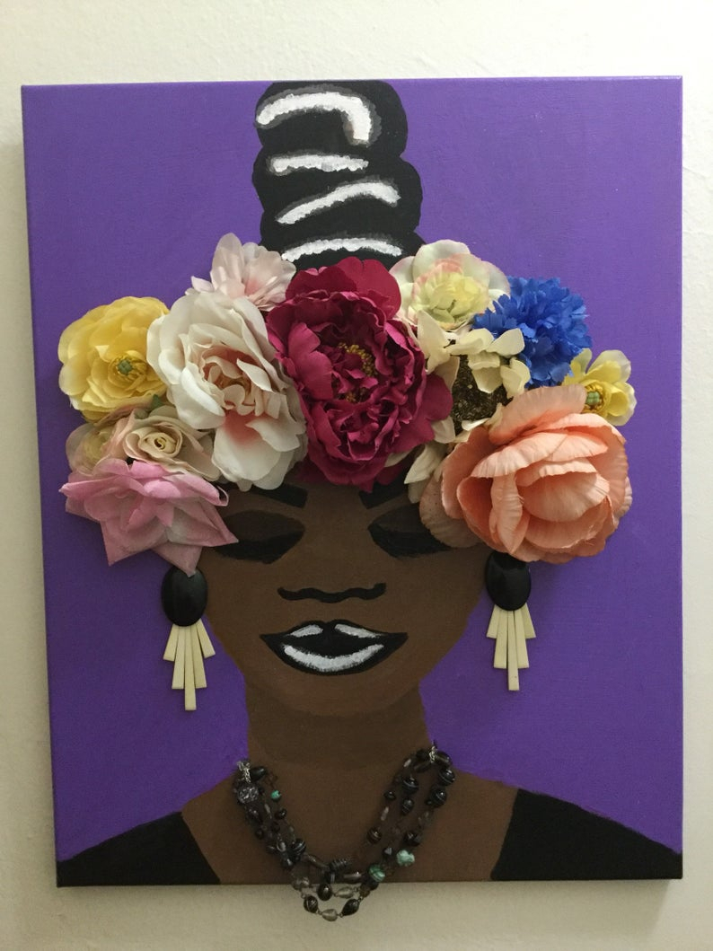 Floral Flora Original Painting Black Woman Art African American 3D Pop Art  Lavender Decor Design Decoration Wall Female Pride in American Pride 3D Wall Decor (Image 10 of 30)