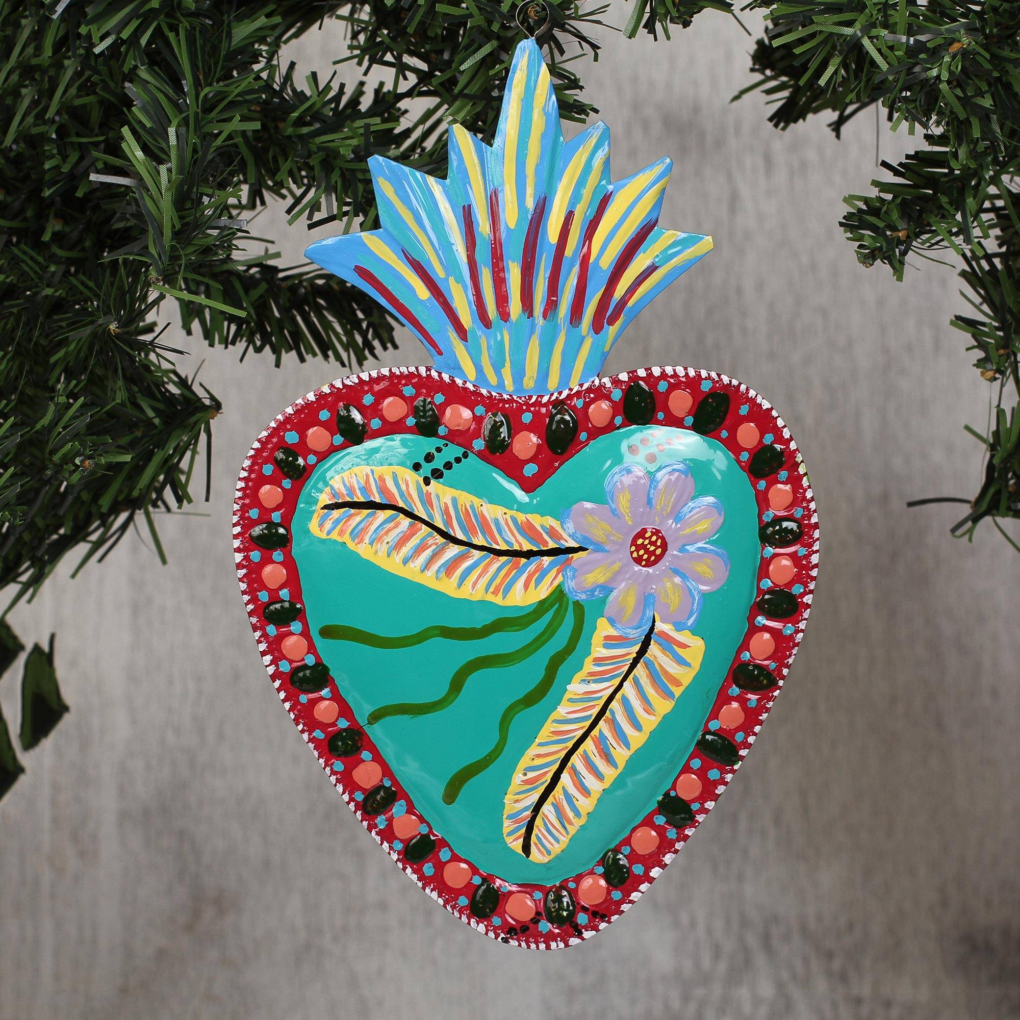 Floral Heart Shaped Colorful Tin Wall Art From Mexico, 'cheerful Heart' Throughout 2 Piece Heart Shaped Fan Wall Decor Sets (View 13 of 30)