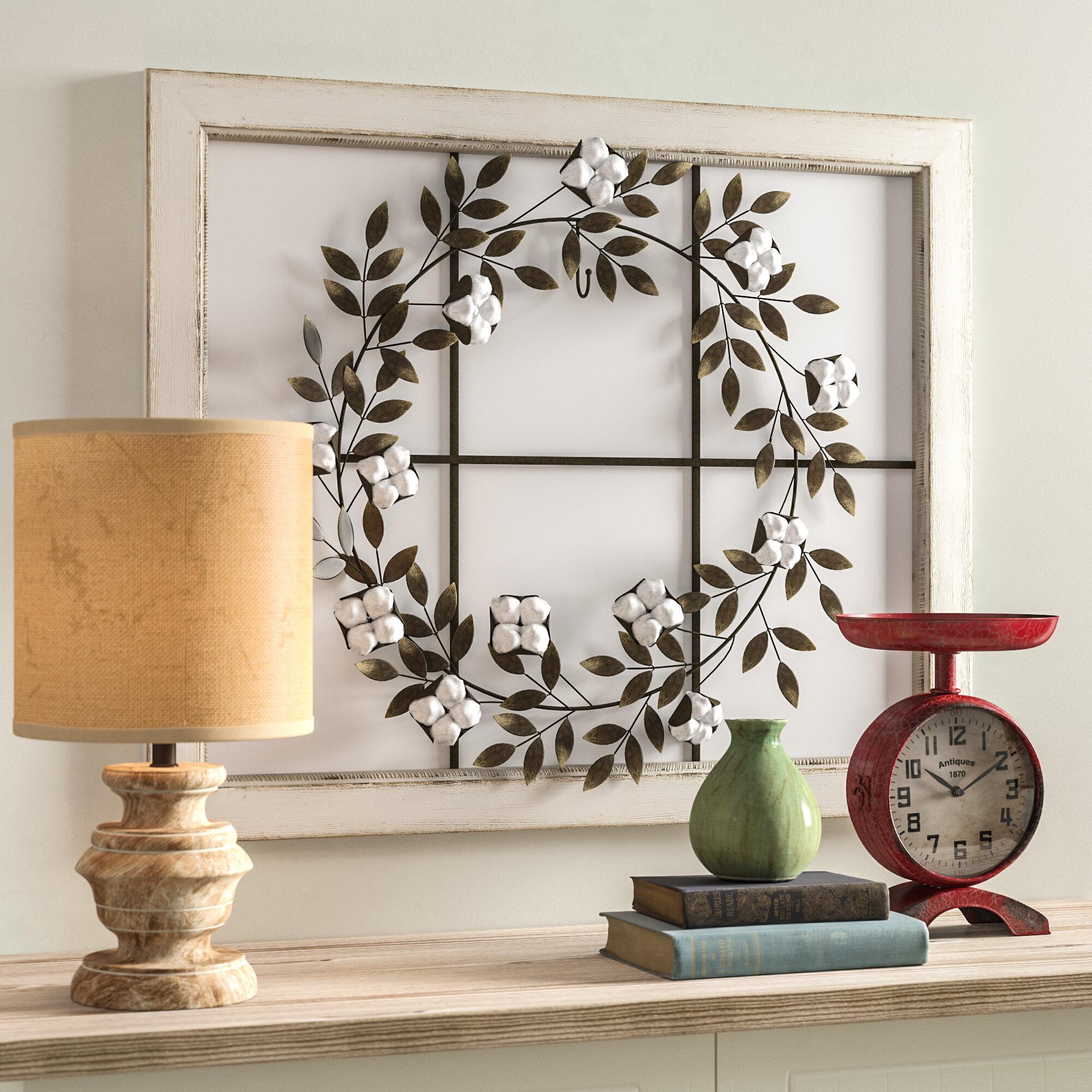 Floral Wreath Wood Framed Wall Décor for Floral Wreath Wood Framed Wall Decor (Image 16 of 30)