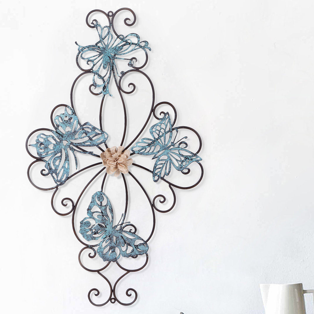 Flower And Butterfly Urban Design Metal Wall Decor with Flower Urban Design Metal Wall Decor (Image 12 of 30)