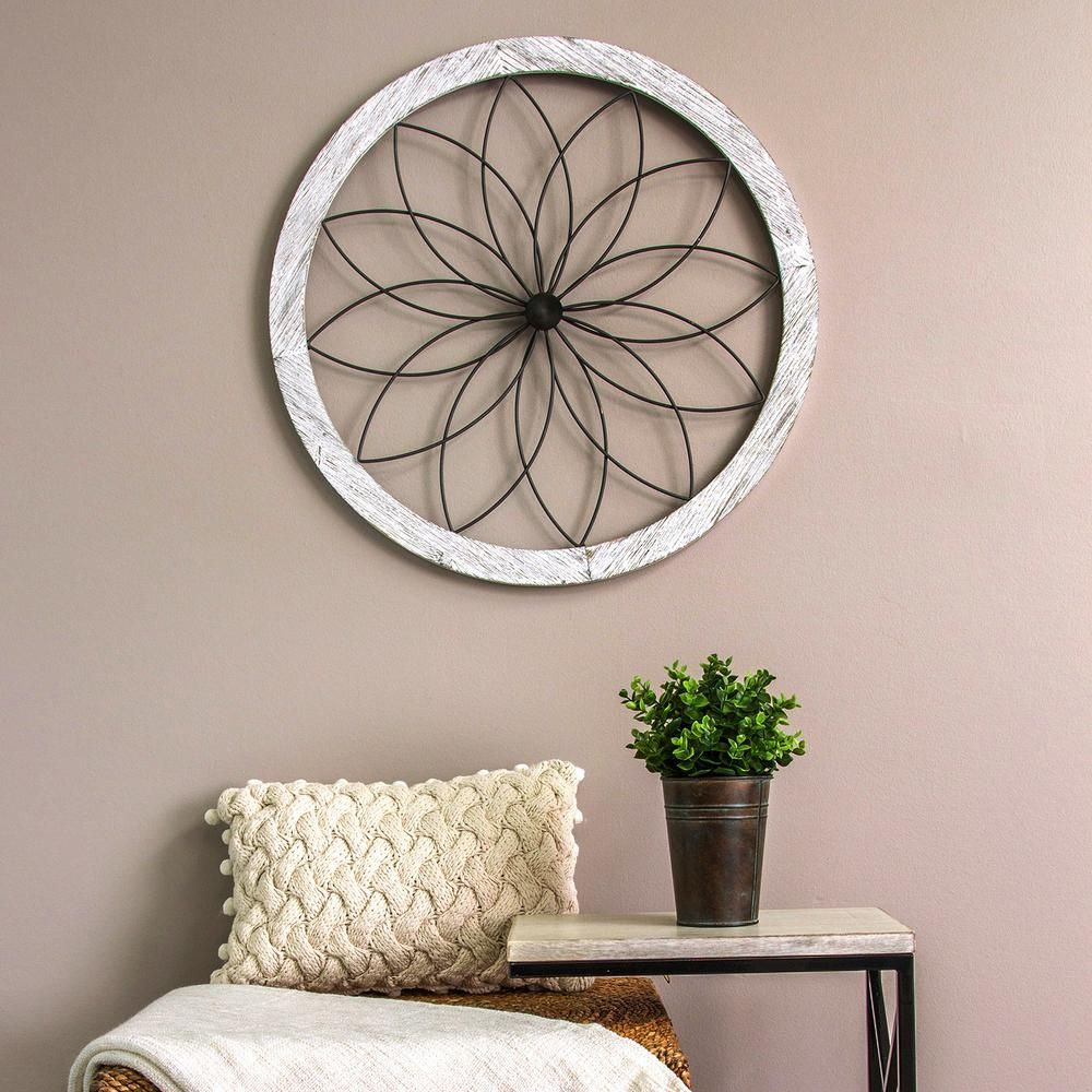 Flower Metal And Wood Art Deco Wall Decor In 2019 | Products in 4 Piece Handwoven Wheel Wall Decor Sets (Image 16 of 30)