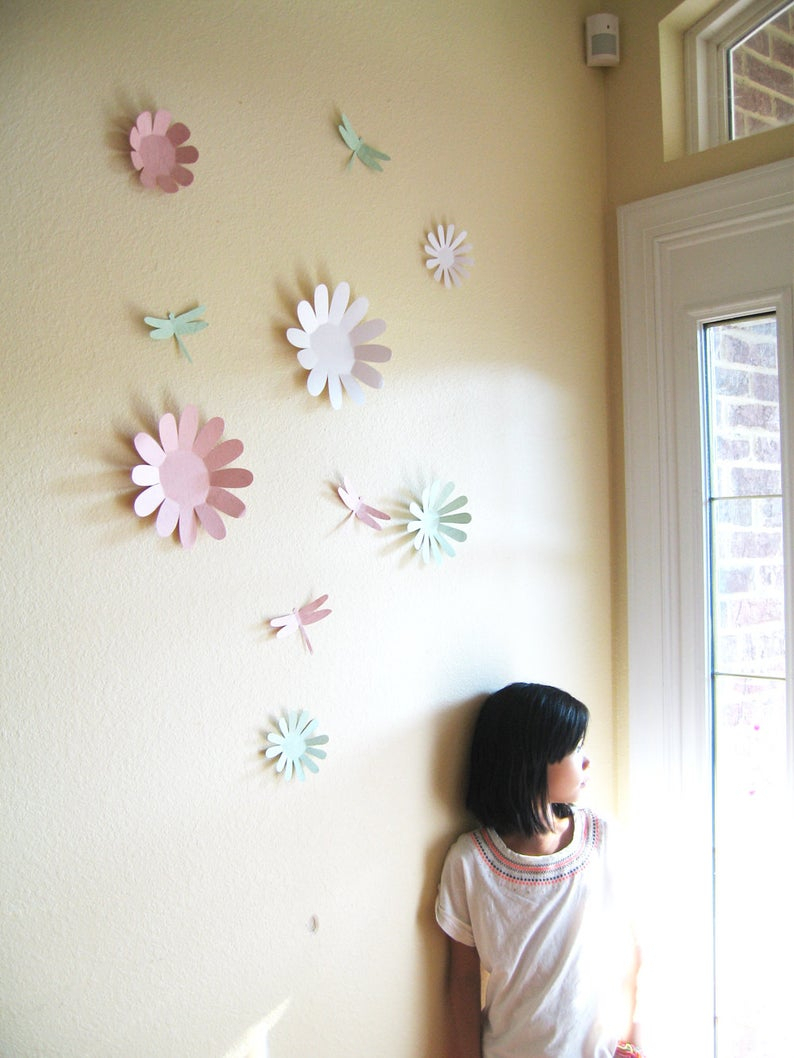 Flowers, 3d, Wall Art, Dragonfly, Wall Décor, Girls Room, Baby, Nursery, Shower, Wedding Throughout Dragonfly Wall Decor (View 24 of 30)