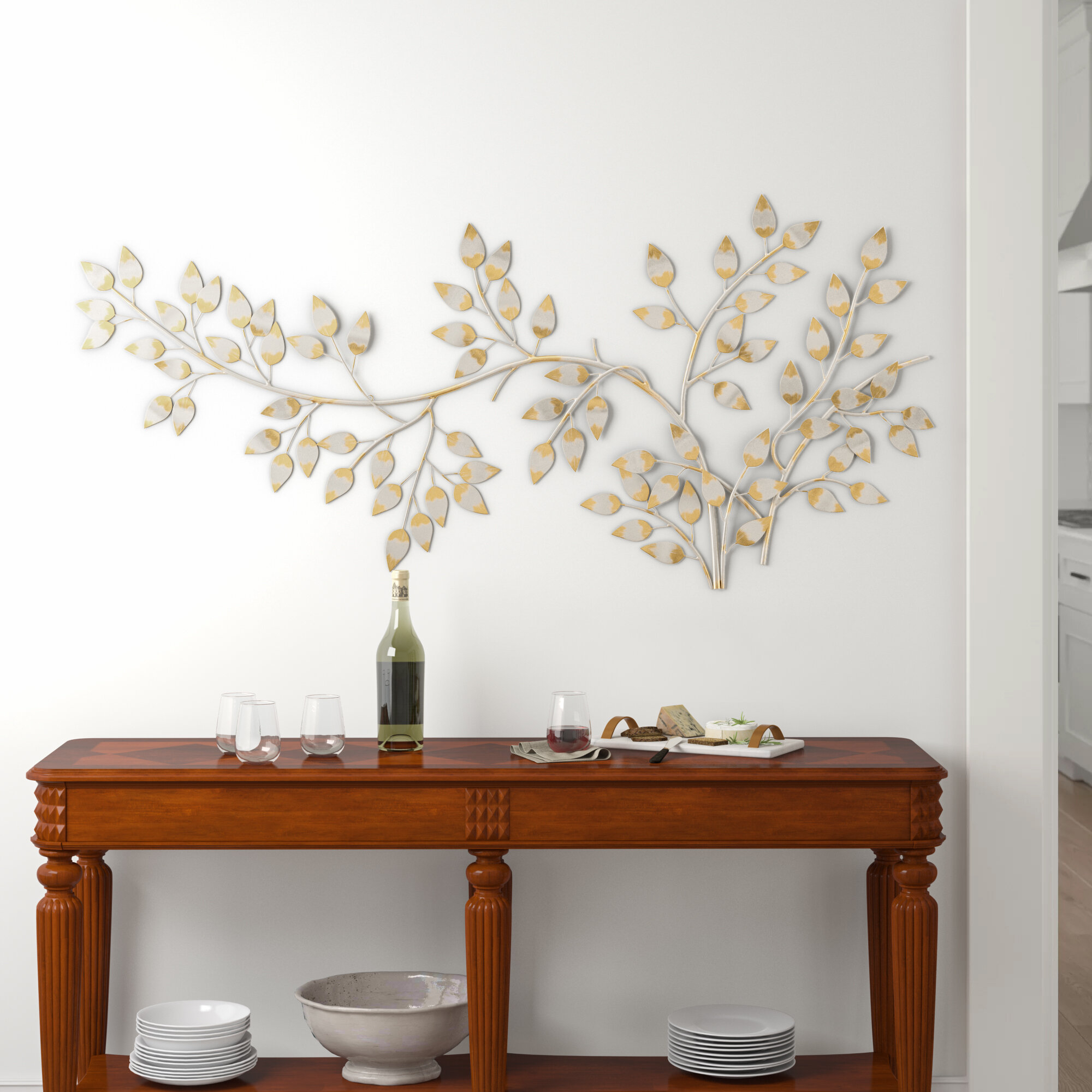 Flowing Leaves Wall Décor Inside Metal Leaf Wall Decor By Red Barrel Studio (View 6 of 30)