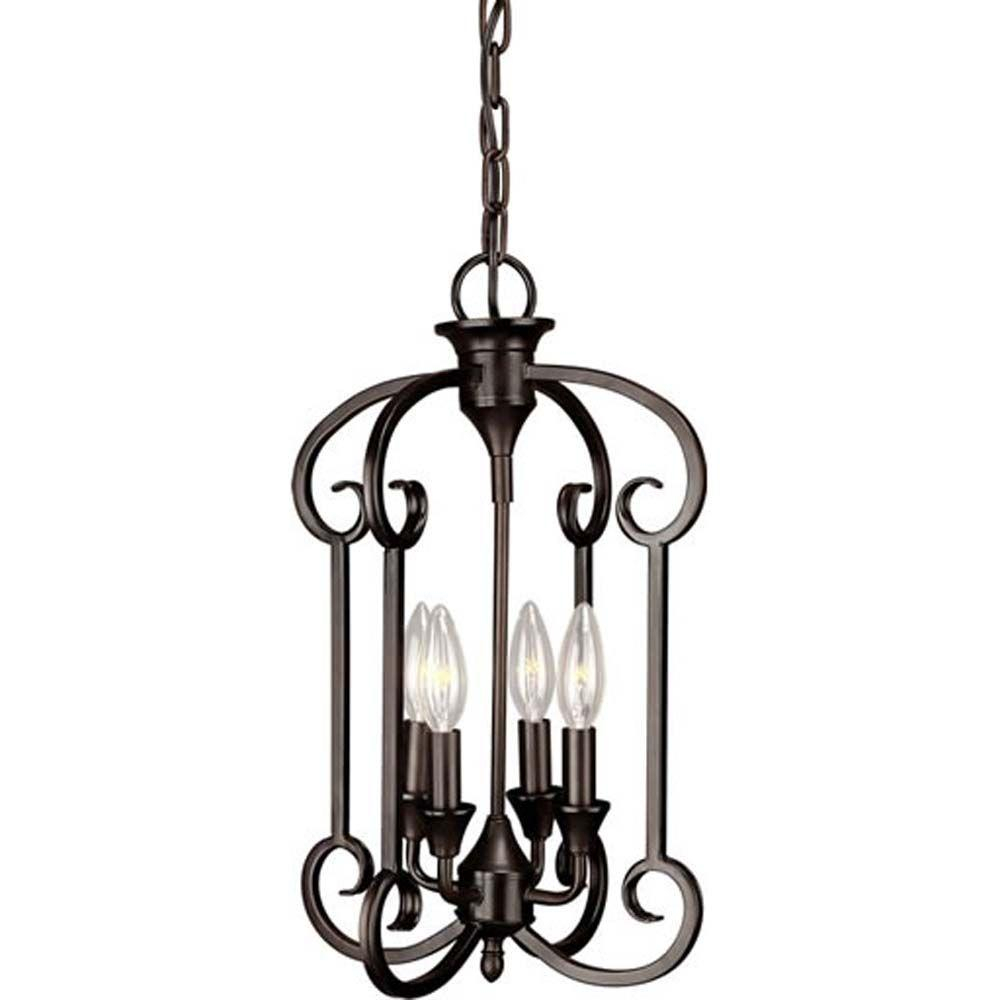 Forte Lighting William 4 Light Antique Bronze Chandelier Throughout William 4 Light Lantern Square / Rectangle Pendants (View 21 of 30)