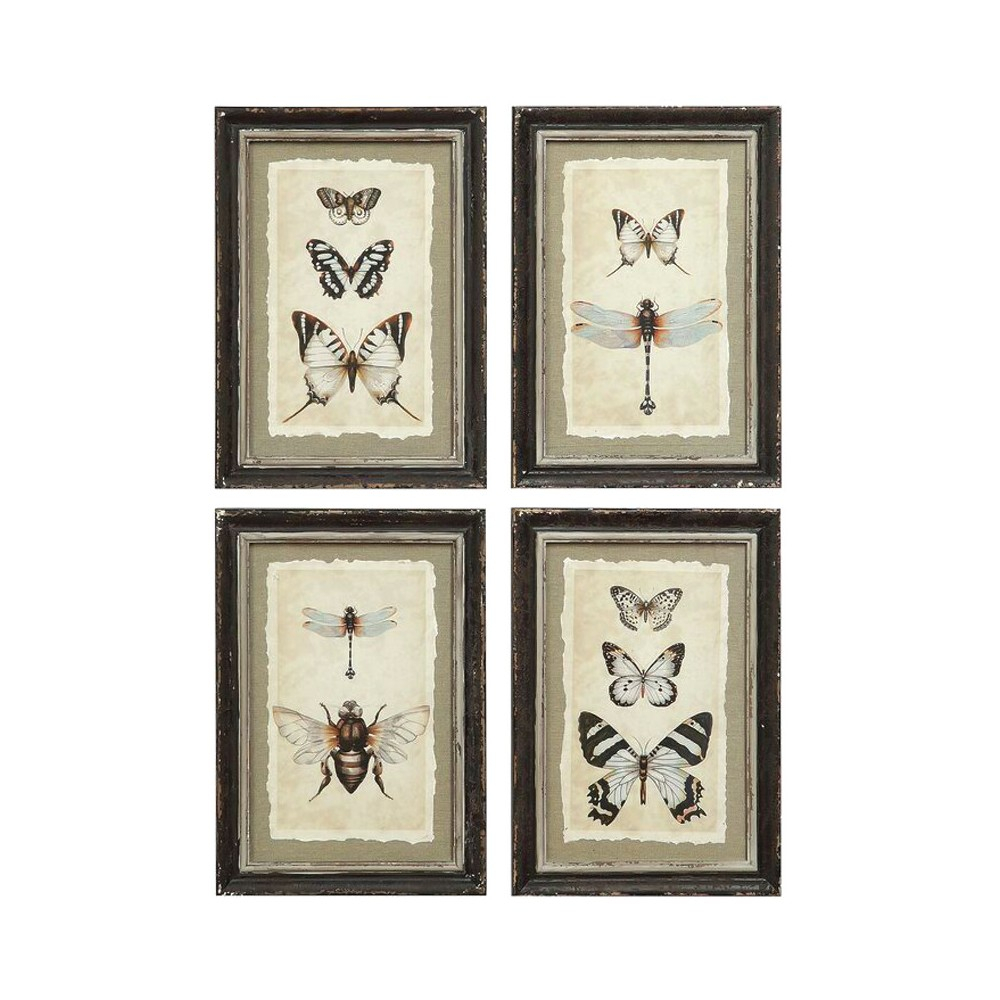 Framed Insect Wall Art Black/cream 4pk – 3r Studios With 4 Piece Wall Decor Sets By Charlton Home (View 13 of 30)