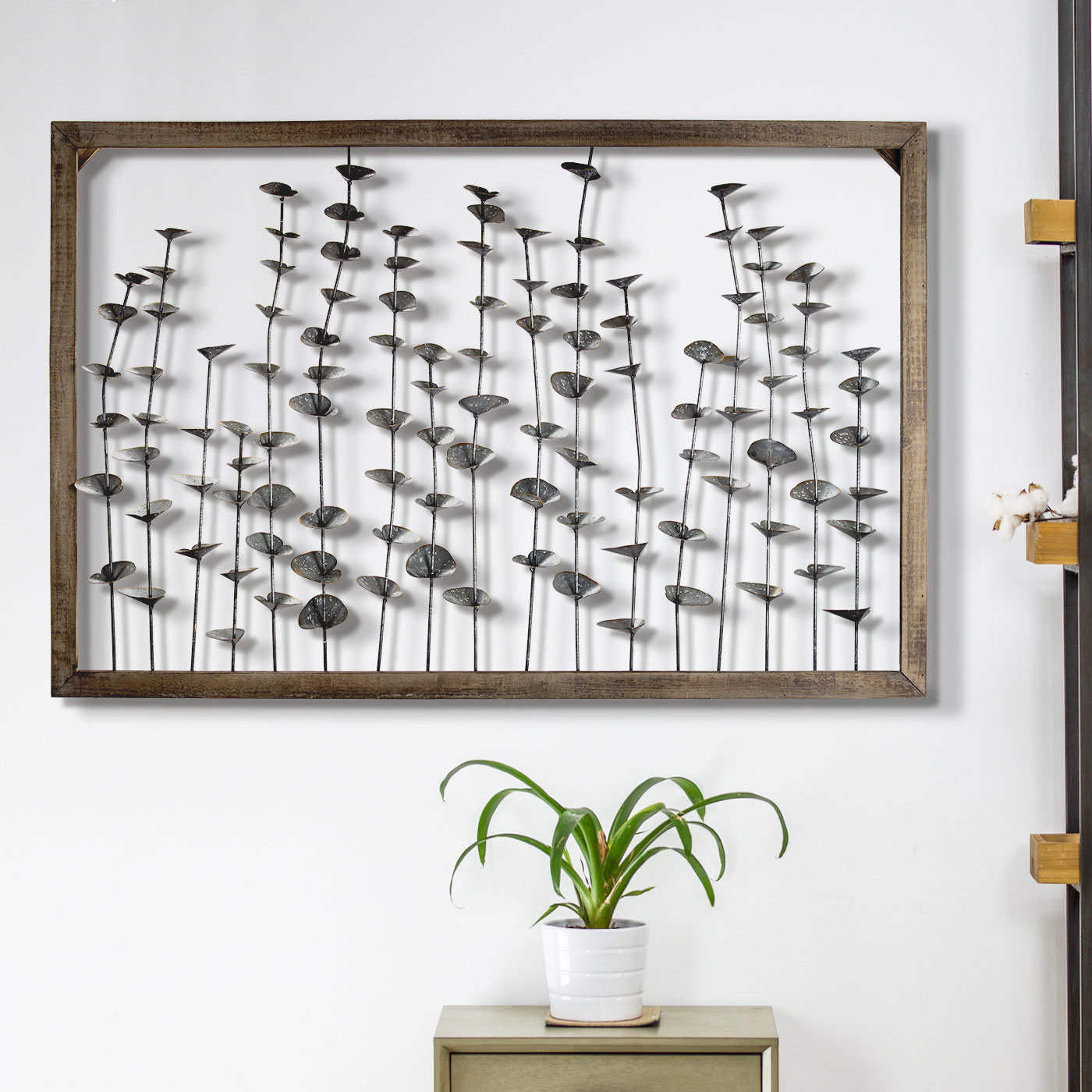 Framed Metal Flower Leaves Sculpture Wall Art Farmhouse Wall Décor With Regard To Olive/gray Metal Wall Decor (View 10 of 30)