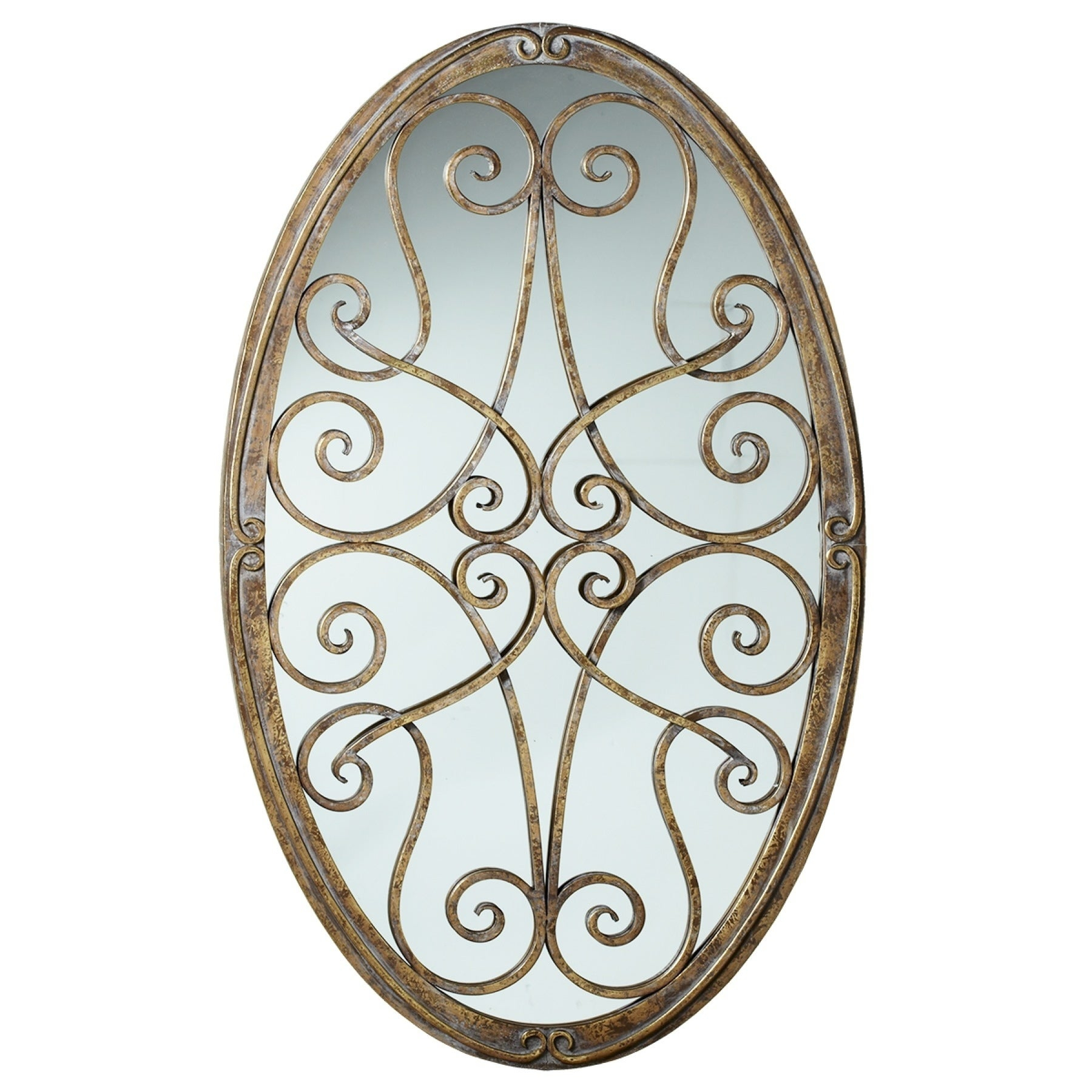 Framed Oval Scroll Wall Decor With Mirror (View 8 of 30)