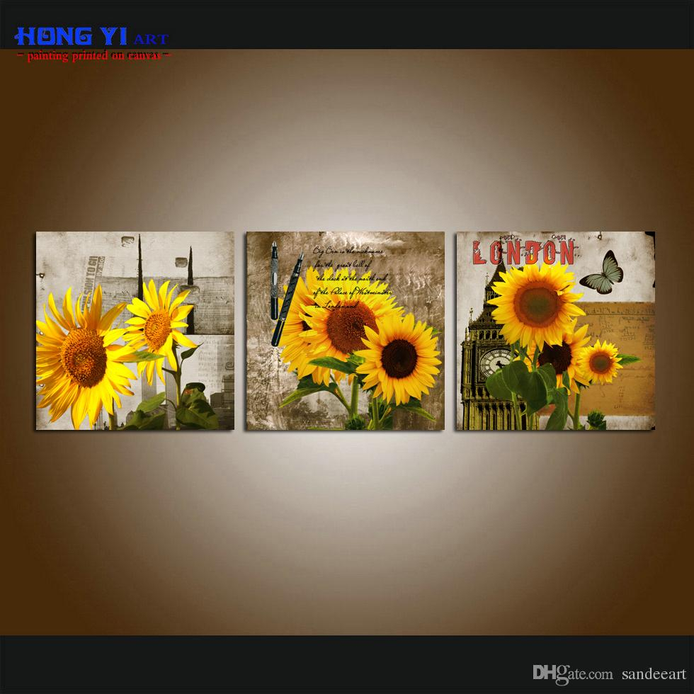 Framed/unframed Large Modern Wall Art Canvas Prints Sunflower Flowers  Painting Home Decor 3 Pieces Set Bedroom Decor 3Pcs13 for 3 Piece Star Wall Decor Sets (Image 17 of 30)