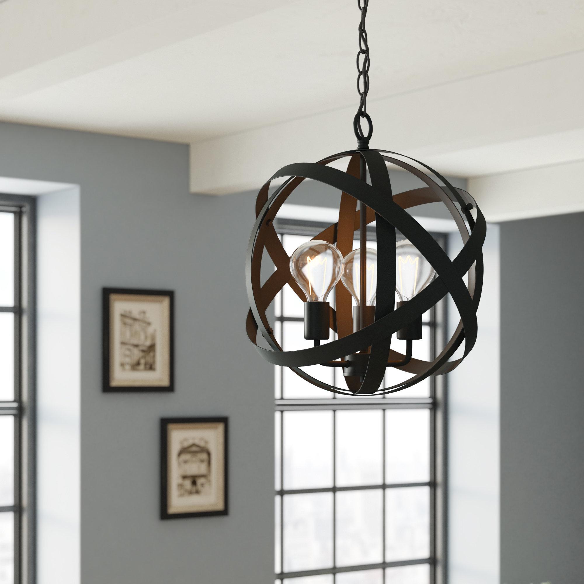 Framlingham 3-Light Globe Chandelier for Annuziata 3-Light Unique/statement Chandeliers (Image 15 of 30)