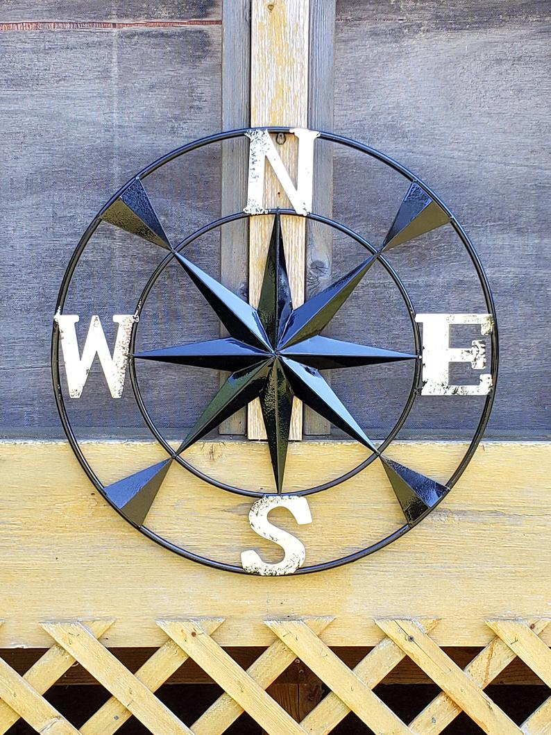 Free Shipping Metal Wall Compass/ Metal Compass Rose/ Black Wall Compass/ Nautical Wall Compass/ Compass Rose/ Nautical Wall Decor/ Wall Art Throughout Outdoor Metal Wall Compass (View 11 of 30)