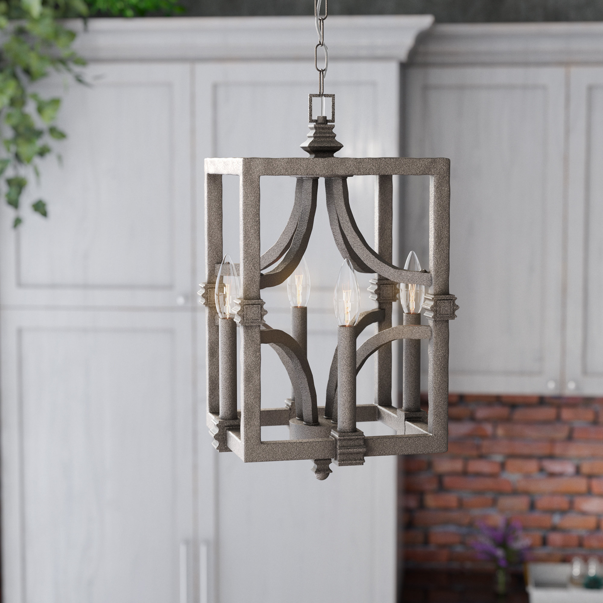 Freeburg 4 Light Lantern Square / Rectangle Pendant For Armande 4 Light Lantern Drum Pendants (View 3 of 30)