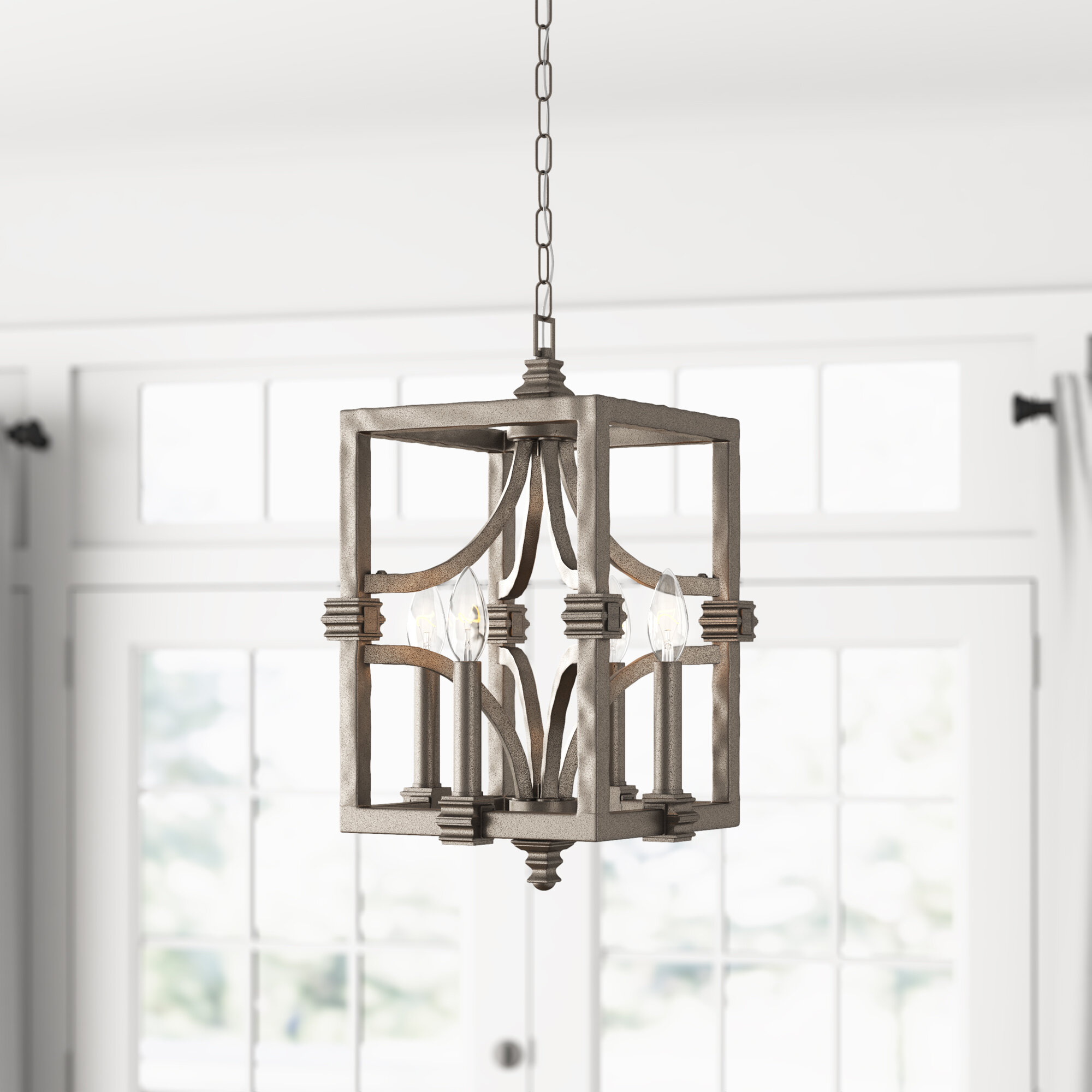 Freeburg 4 Light Lantern Square / Rectangle Pendant Inside Armande 4 Light Lantern Drum Pendants (View 6 of 30)