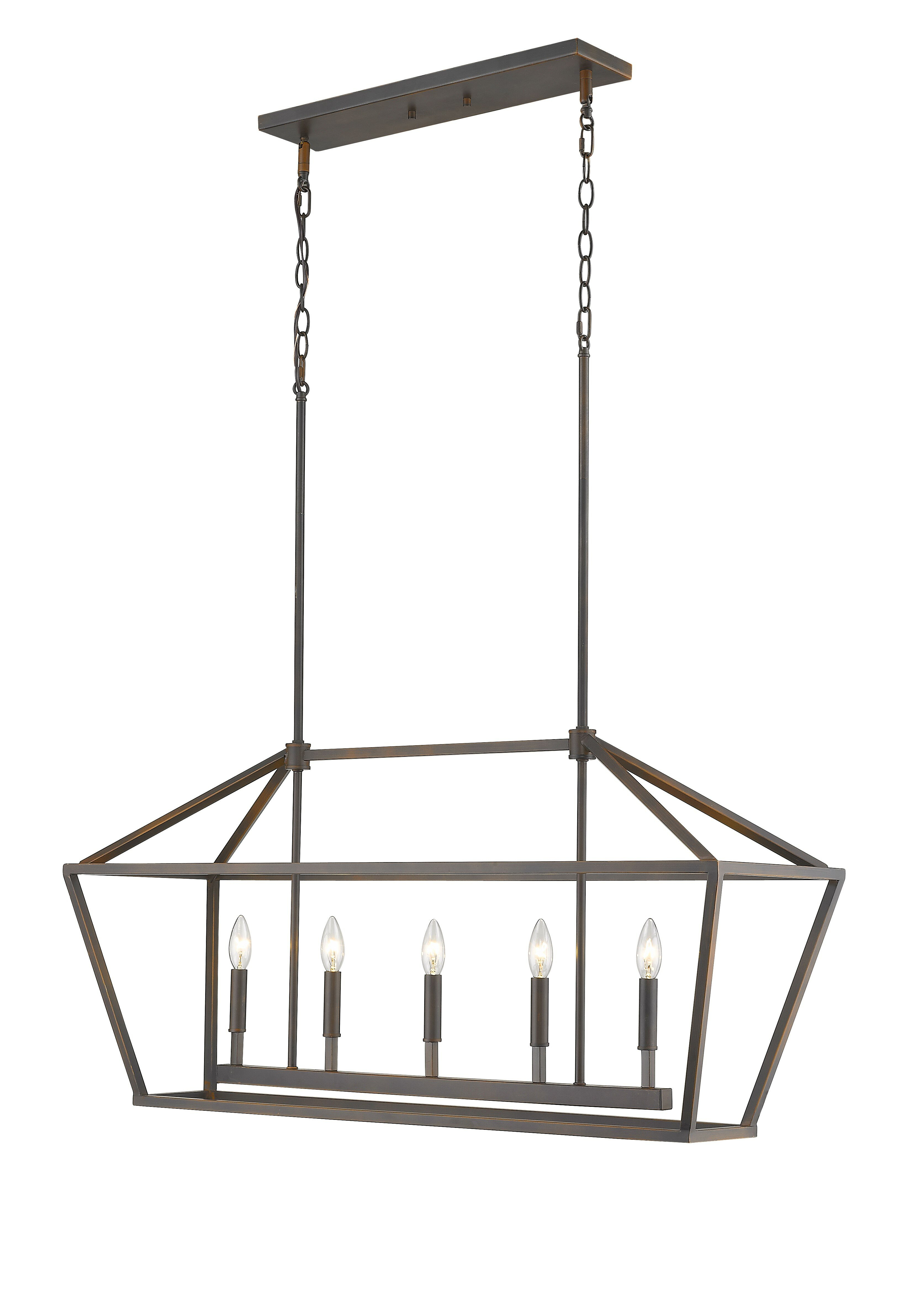 Freemont 5-Light Kitchen Island Linear Chandelier with Odie 8-Light Kitchen Island Square / Rectangle Pendants (Image 10 of 30)