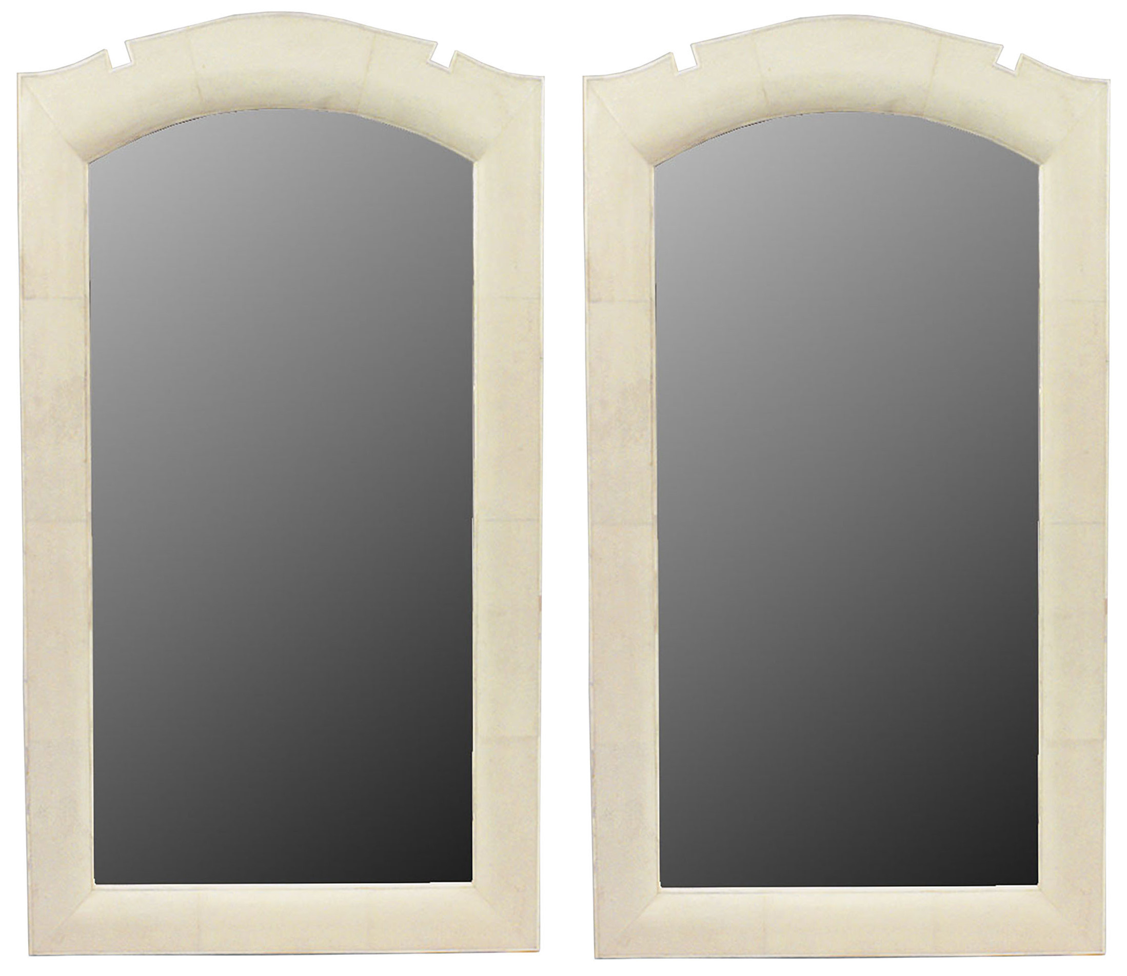 French Art Deco Style Beige Shagreen Wall Mirrors | Newel in Arch Vertical Wall Mirrors (Image 19 of 30)