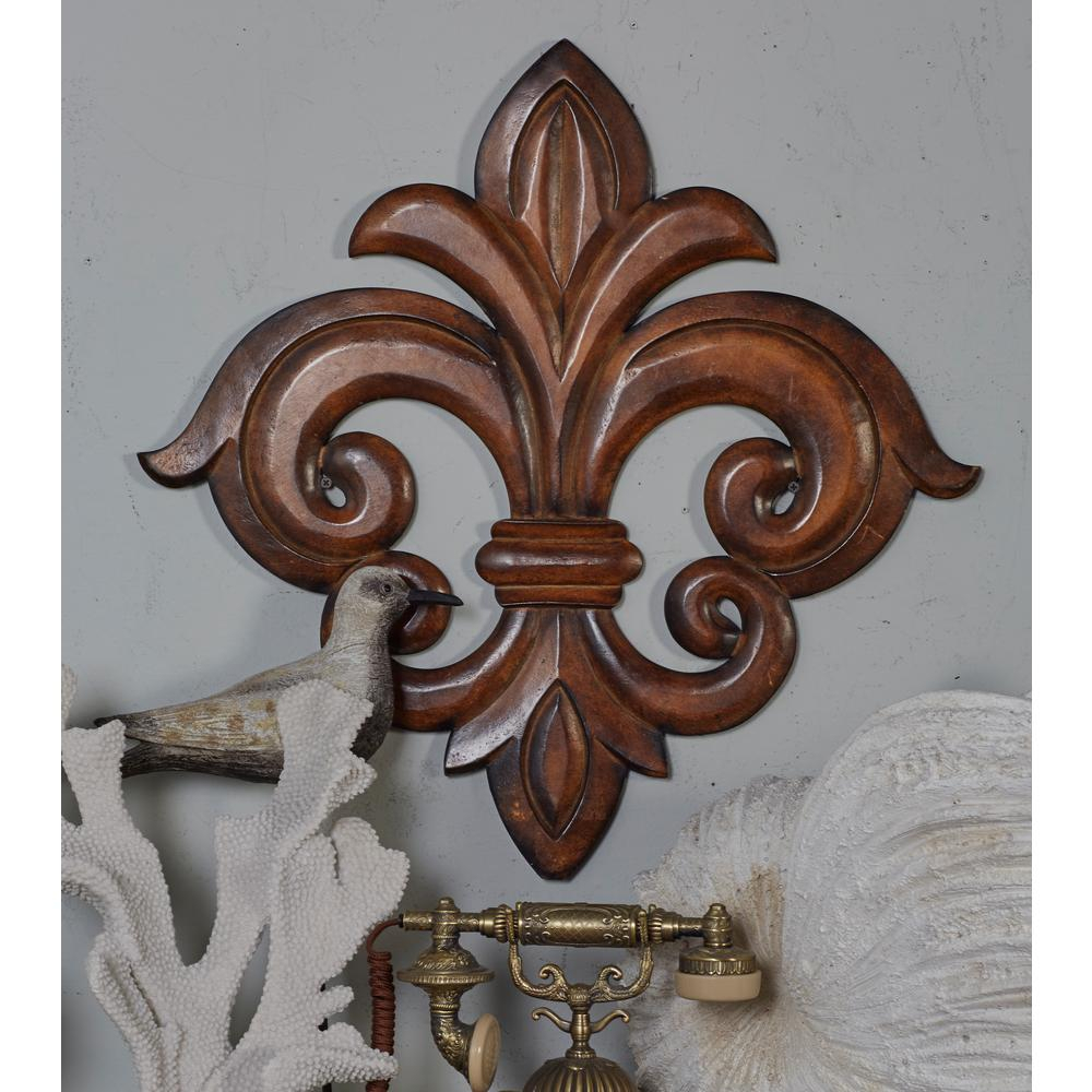 French Inspired Carved Fleur De Lis Wooden Wall Art Regarding 2 Piece Metal Wall Decor Sets By Fleur De Lis Living (View 4 of 30)