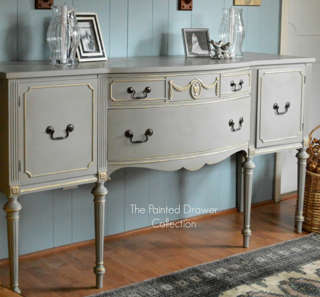 French Linen And Gold Sideboard Transformation – Before And Within Stillwater Sideboards (View 9 of 30)
