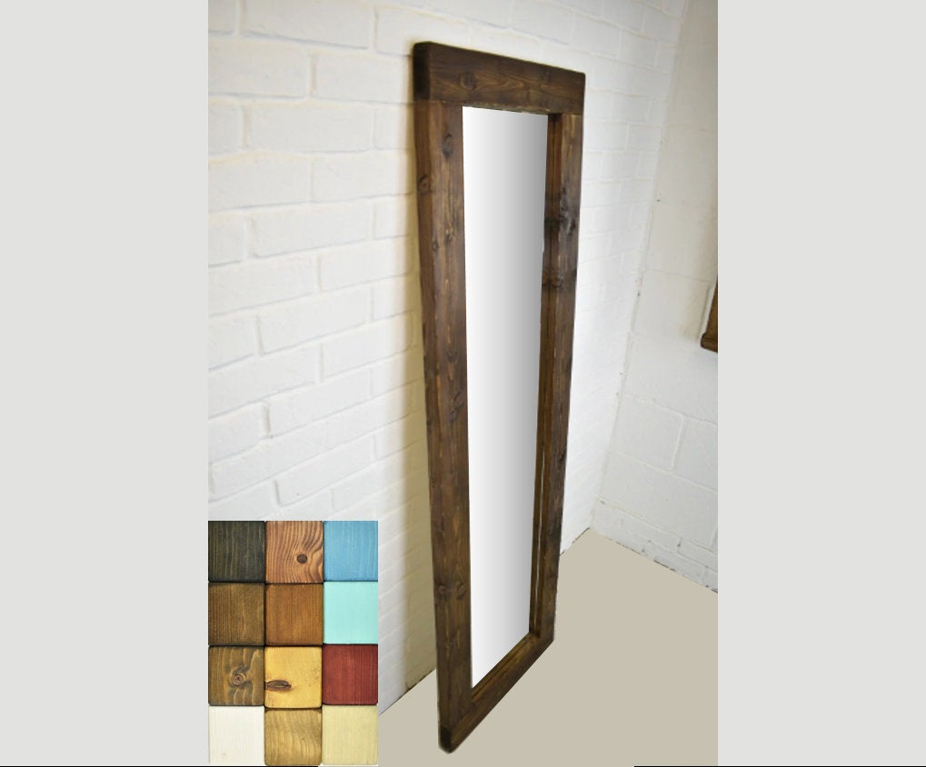 Full Length Wood Mirror – Rustic Handmade Farmhouse Country Style Solid Chunky Wooden Feature Piece Fireplace Mirror Wide Wall Hanging Long In Handcrafted Farmhouse Full Length Mirrors (View 15 of 30)