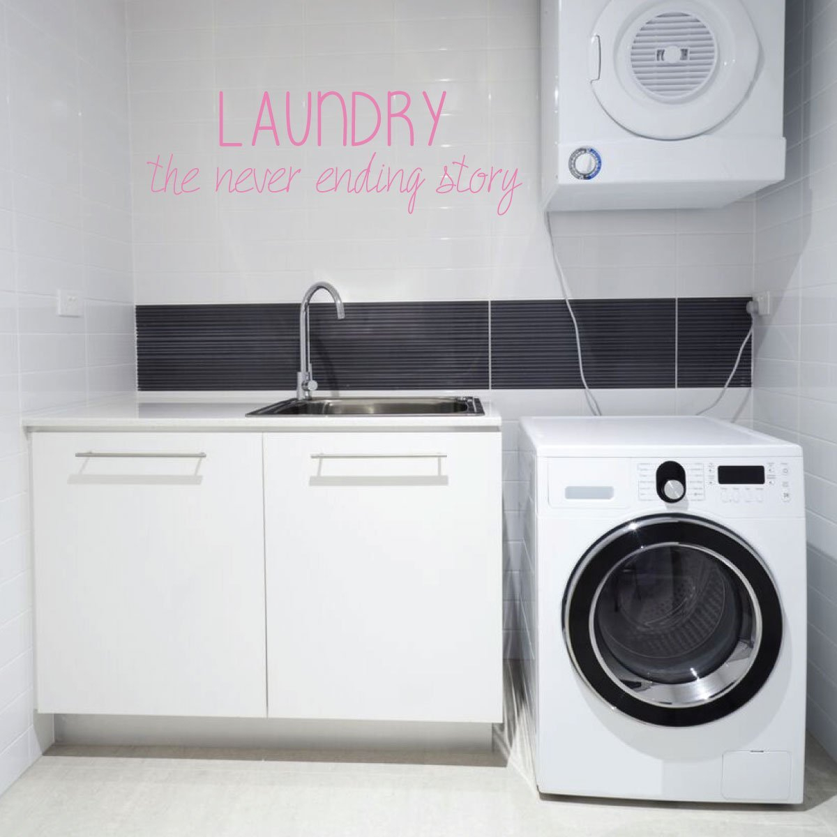 Funny Never Ending Story Laundry Room Quote Vinyl Decor Wall Decal In Metal Laundry Room Wall Decor (View 19 of 30)