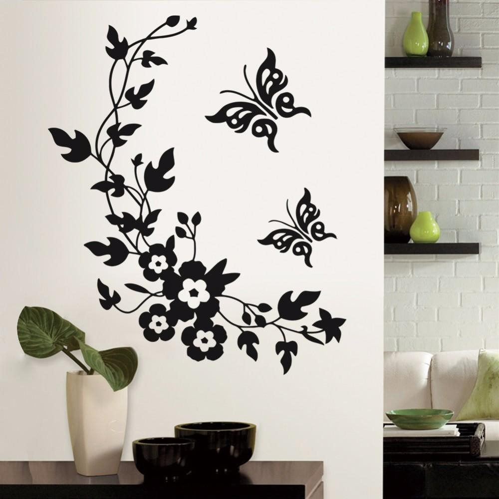 Funny Novelty Butterfly Flower Vine Bathroom Wall Sticker Home Decoration Vinyl Wall Decals With Three Flowers On Vine Wall Decor (View 20 of 30)