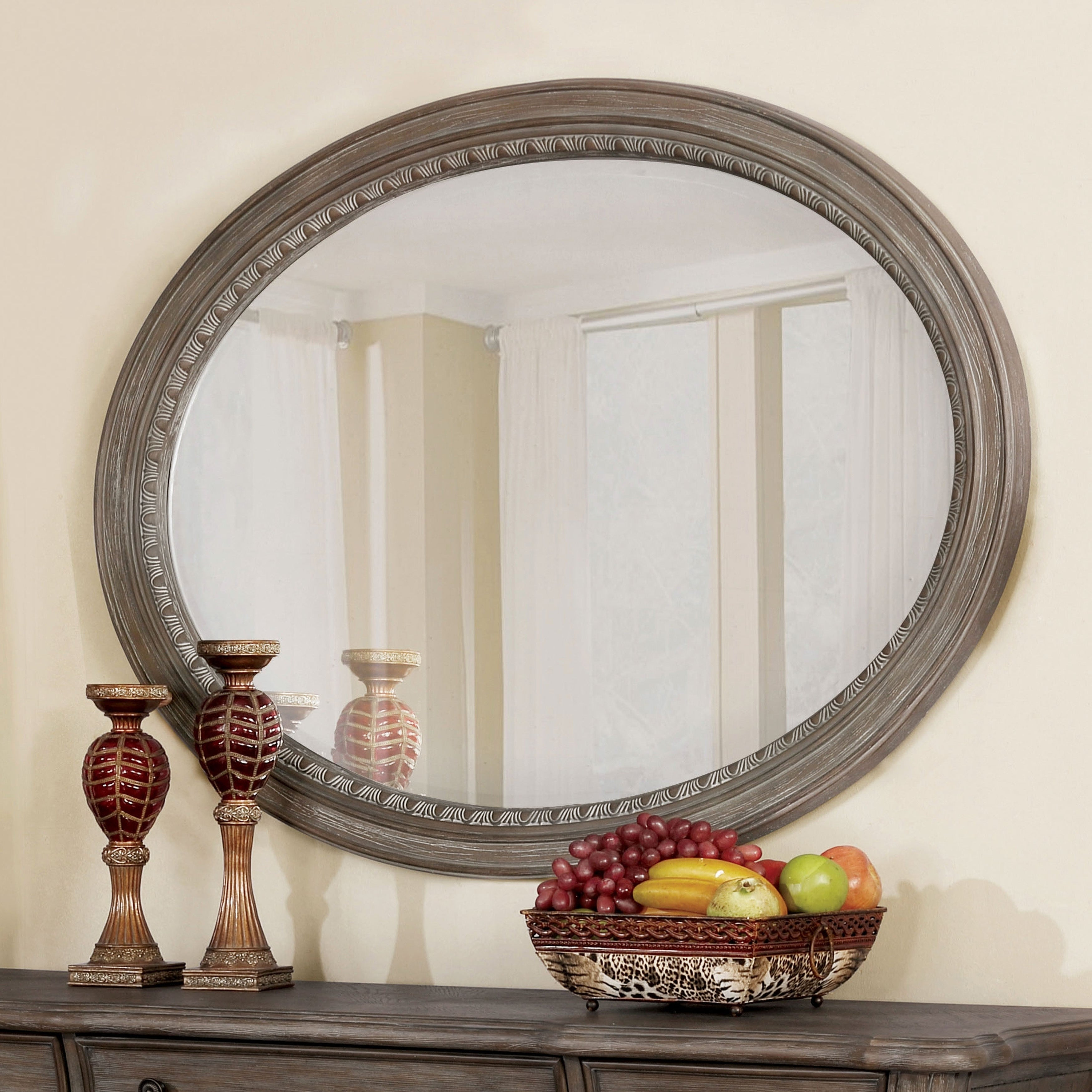 Furniture Of America Amalfi Traditional Oval Accent Wall Mirror – Antique Grey – A/n Within Traditional Accent Mirrors (View 17 of 30)
