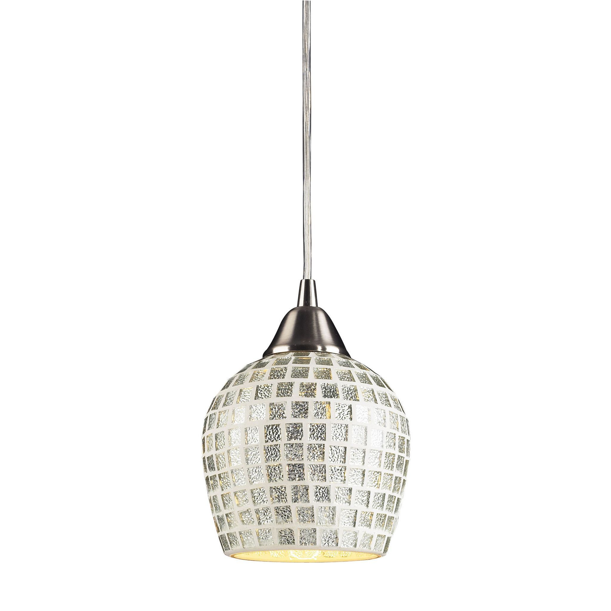 Fusion 1 Light Led Pendant In Satin Nickel And Silver Glass regarding Hermione 1-Light Single Drum Pendants (Image 11 of 30)
