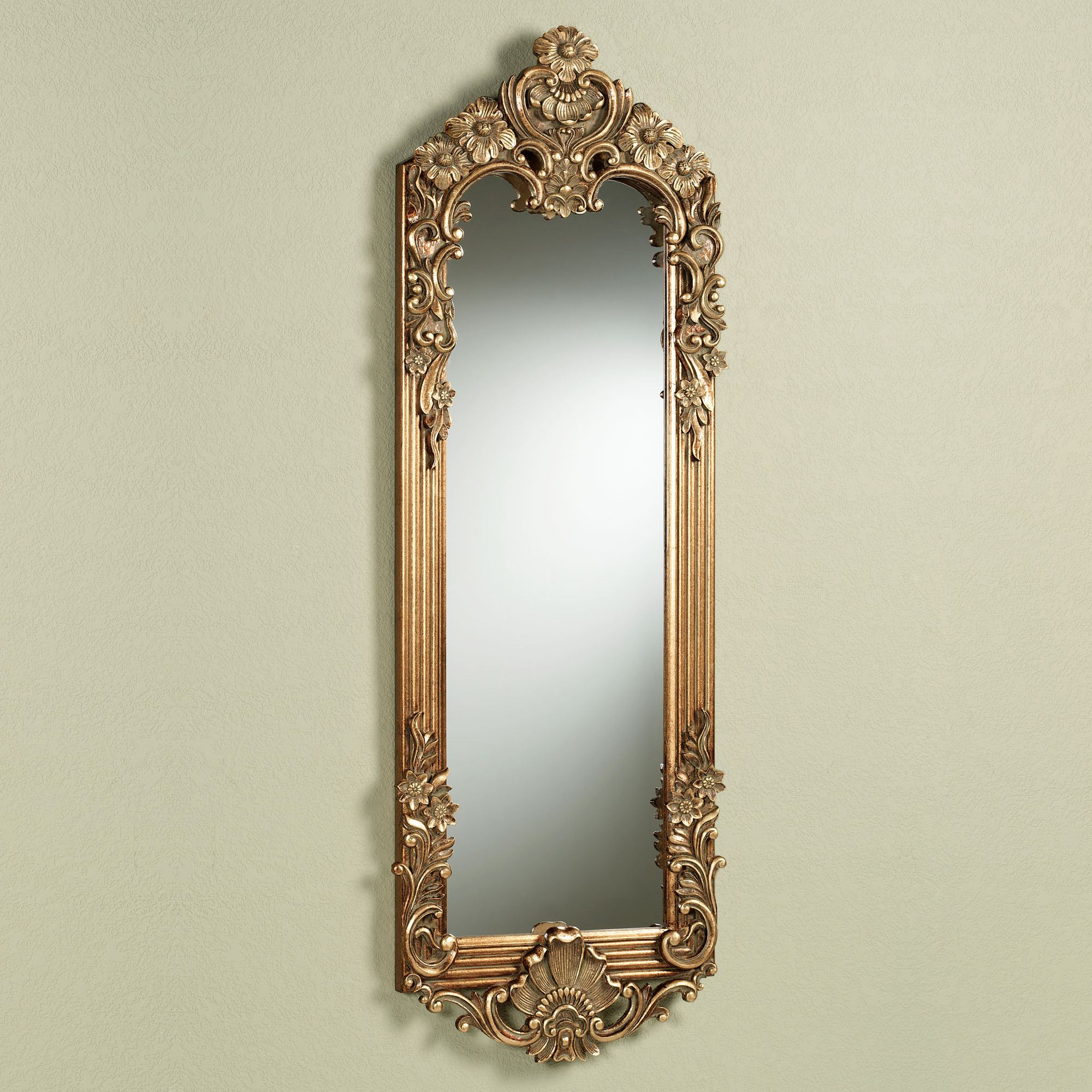 Gadsden Dark Gold Large Floral Wall Mirror Panel For Traditional Metal Wall Mirrors (View 16 of 30)