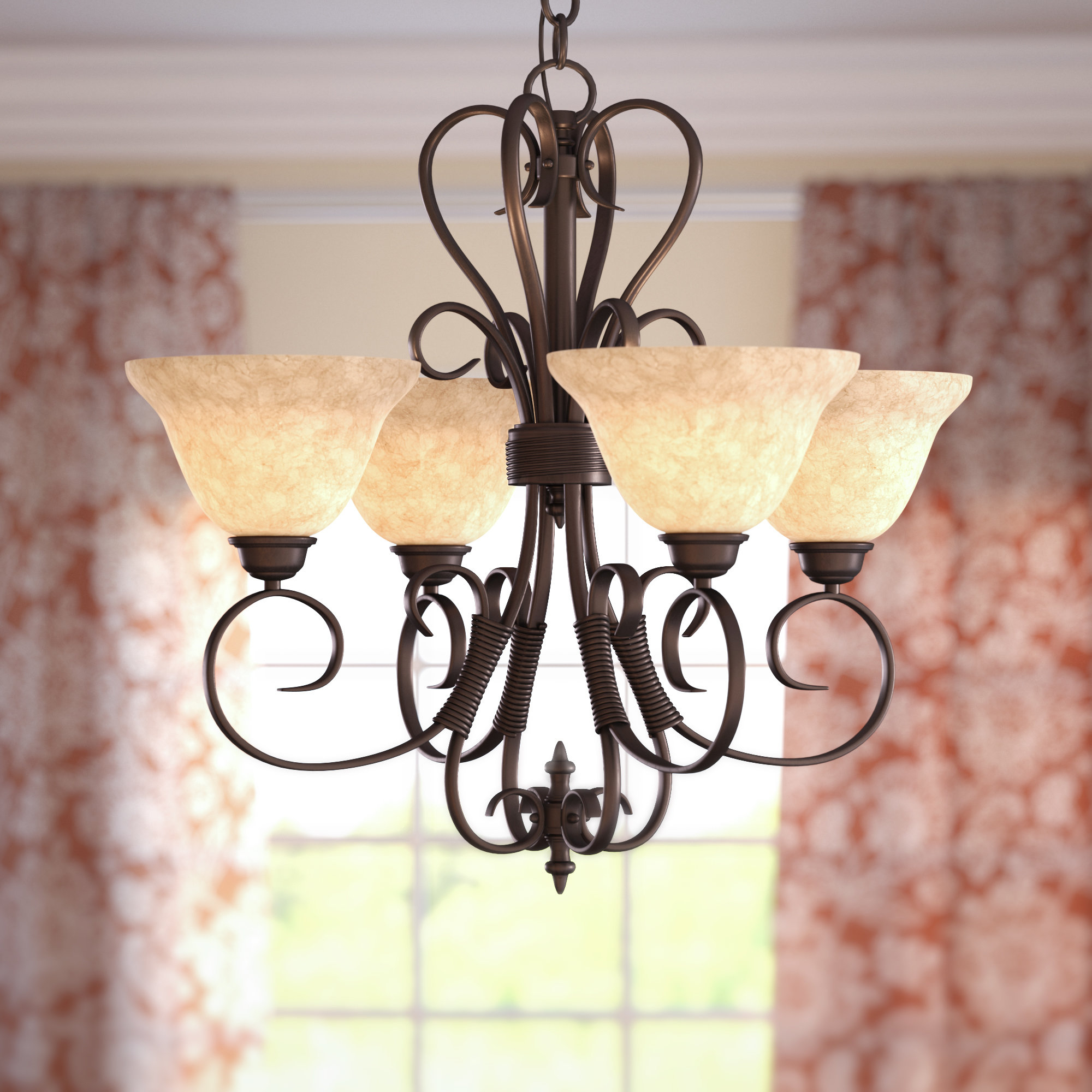 Gaines 4 Light Shaded Chandelier Pertaining To Gaines 5 Light Shaded Chandeliers (View 8 of 30)