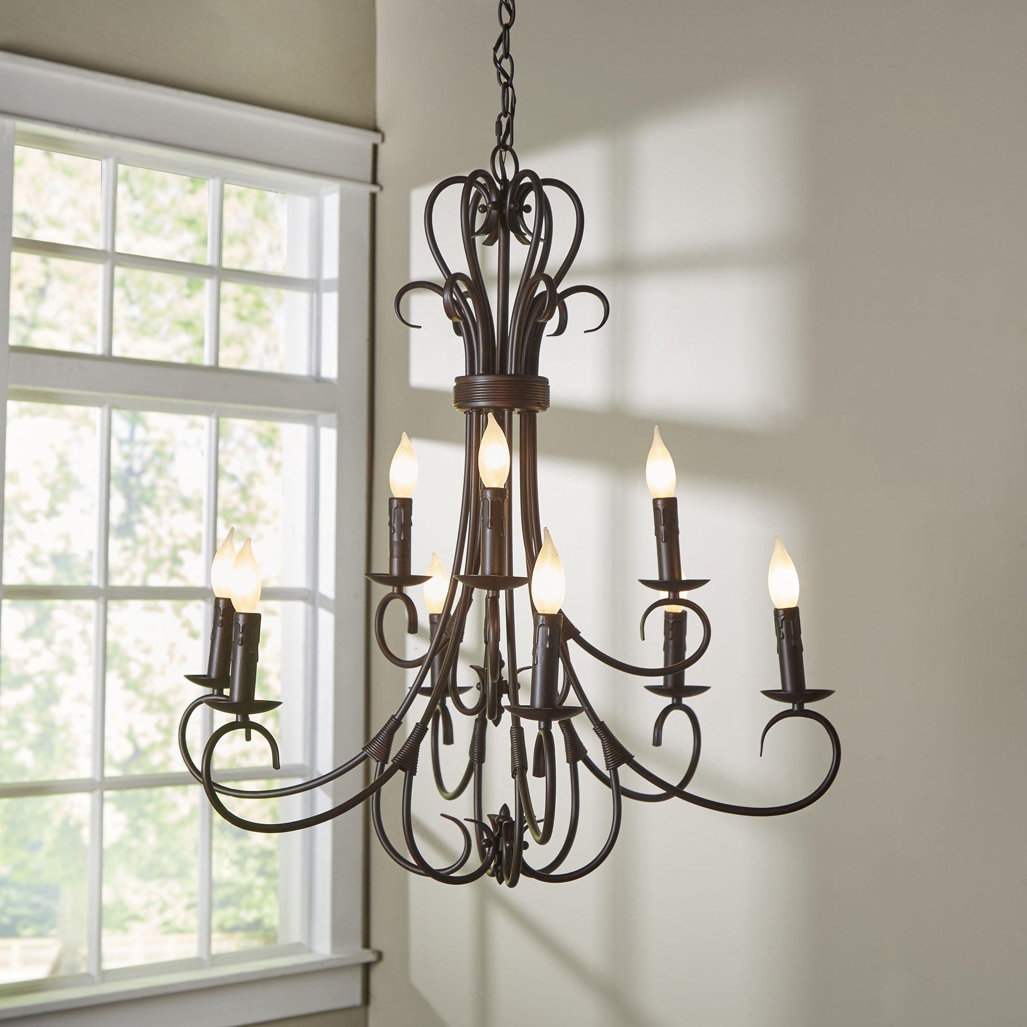 Gaines 9 Light Candle Style Chandelier In Gaines 5 Light Shaded Chandeliers (View 18 of 30)