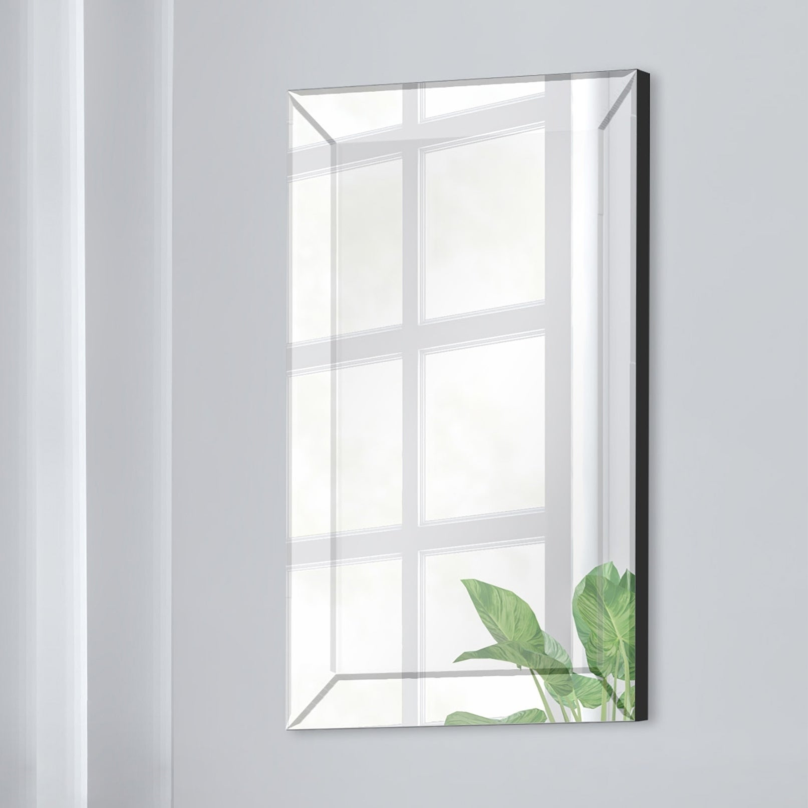 Gallery Solutions Mirror Framed Beveled Wall Accent Mirror – Silver Pertaining To Glam Beveled Accent Mirrors (View 12 of 30)