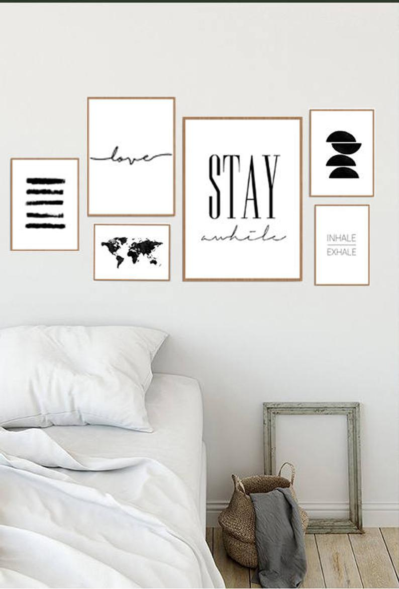 Gallery Wall Set, Stay Awhile Sign, Set Of 6 Prints, Gallery Wall Prints, Printable Wall Decor, Poster Set, Inhale Exhale, Gallery Wall Art, For Live Love Laugh 3 Piece Black Wall Decor Sets (View 23 of 30)