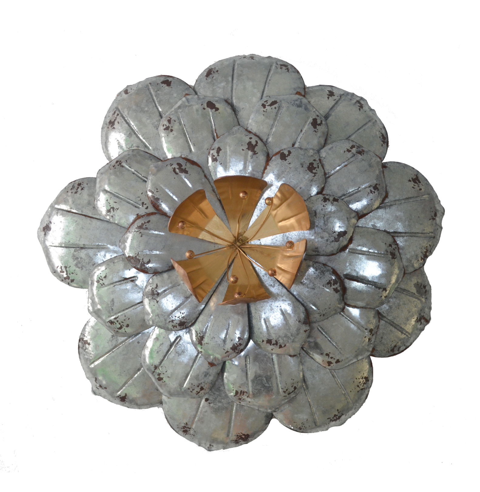Galvanized Flowers Wall Décor Set Of 3 Metal Flower Wall Art With Metal Flower Wall Decor (Set Of 3) (View 23 of 30)
