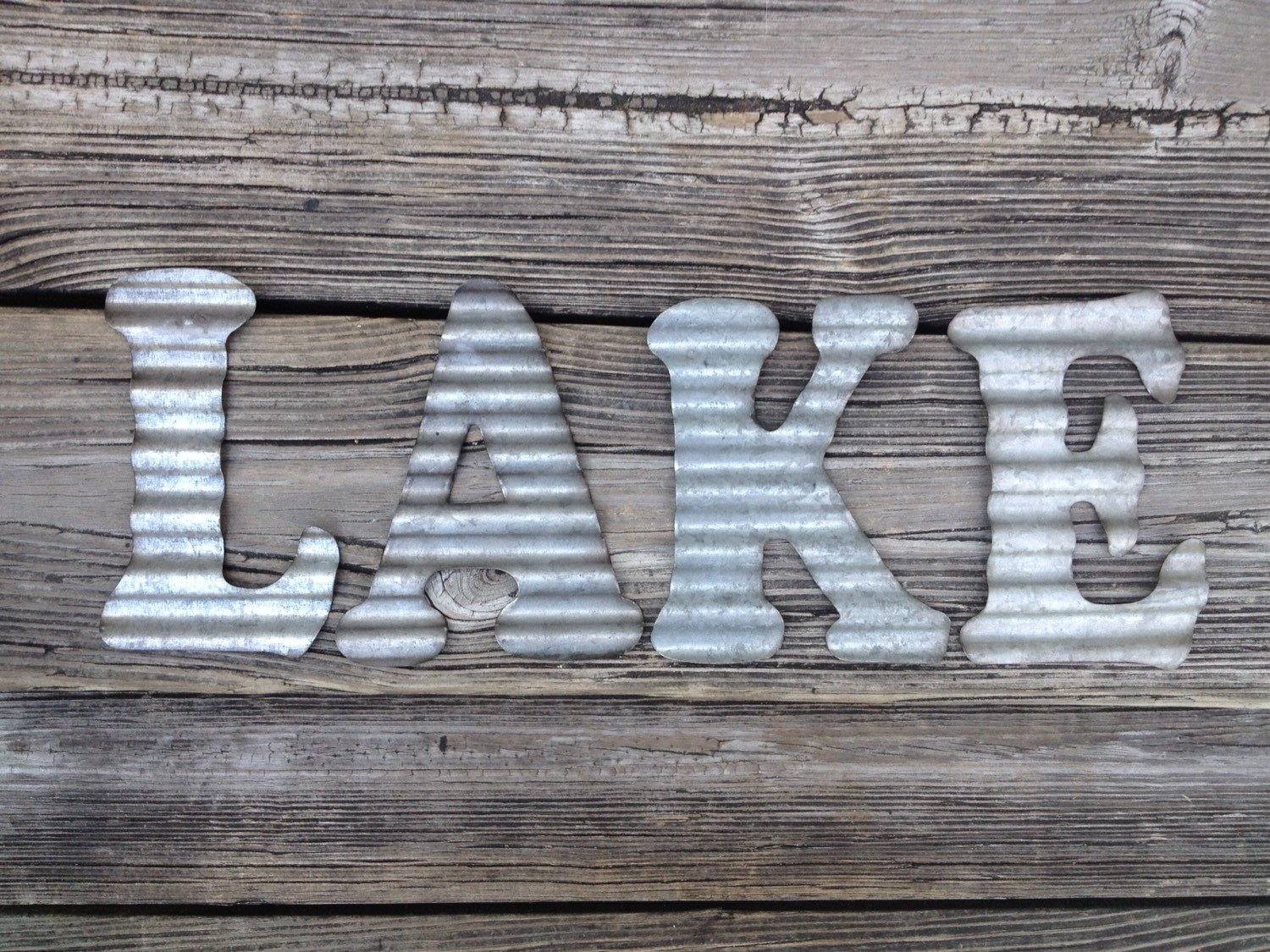 Galvanized Metal Letters Lake Industrial Wall Decor Kitchen inside Metal Wall Decor by Charlton Home (Image 19 of 30)