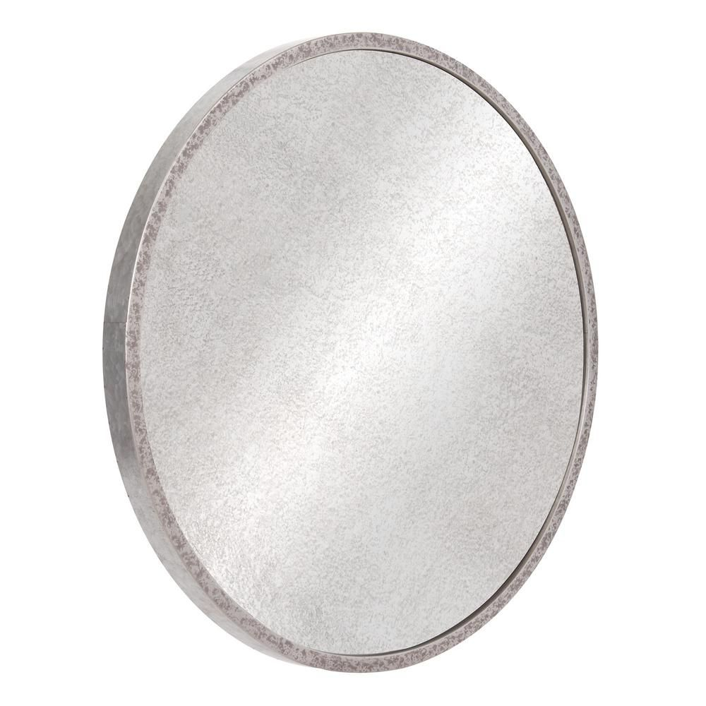 Galvanized Round Galvanized Silver Metal Antiqued Wall In Round Galvanized Metallic Wall Mirrors (View 9 of 30)