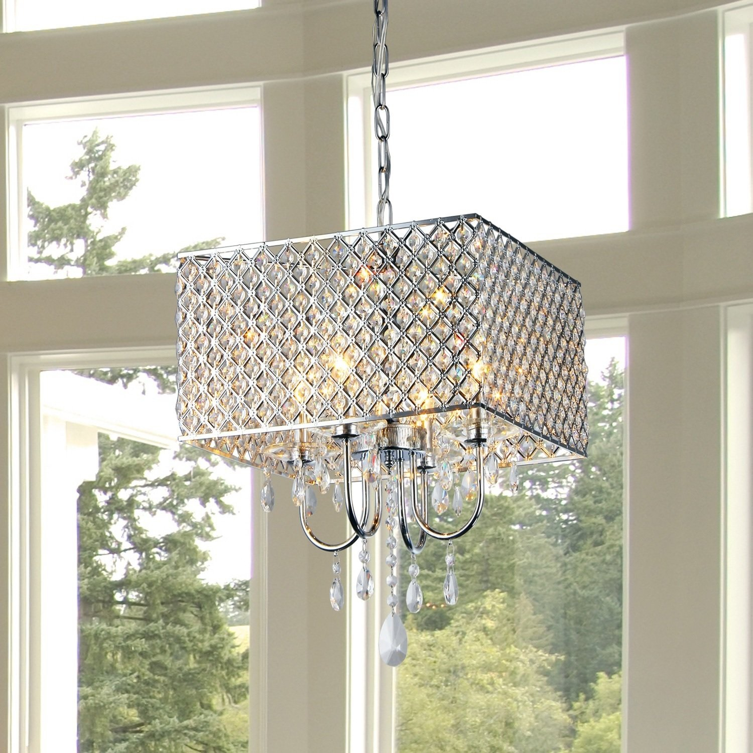 Garrin Square 4-Light Crystal Chandelier throughout Sinead 4-Light Chandeliers (Image 18 of 30)