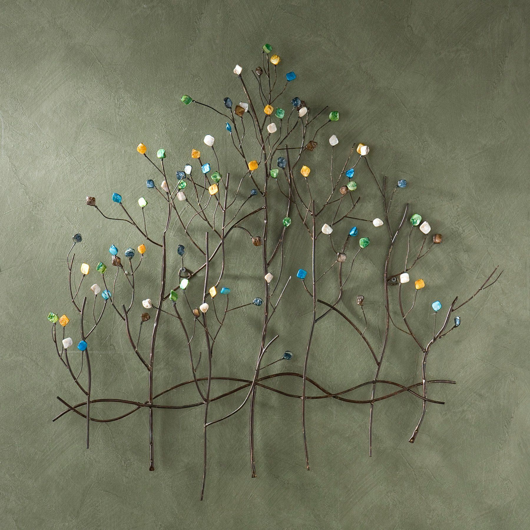 Gemstone Forest Wall Sculpture | Products | Metal Tree Wall Inside Leaves Metal Sculpture Wall Decor By Winston Porter (View 20 of 30)