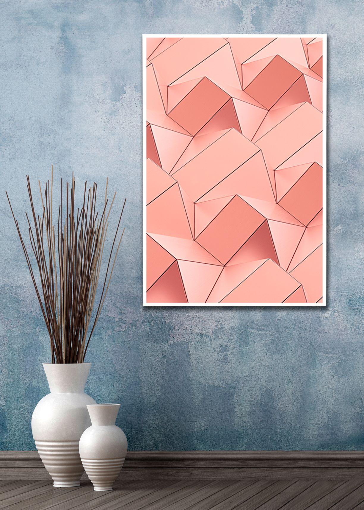 Geometric Art, Wall Art, Rose Gold Art, Minimalist Wall Art Inside Contemporary Geometric Wall Decor (View 15 of 30)