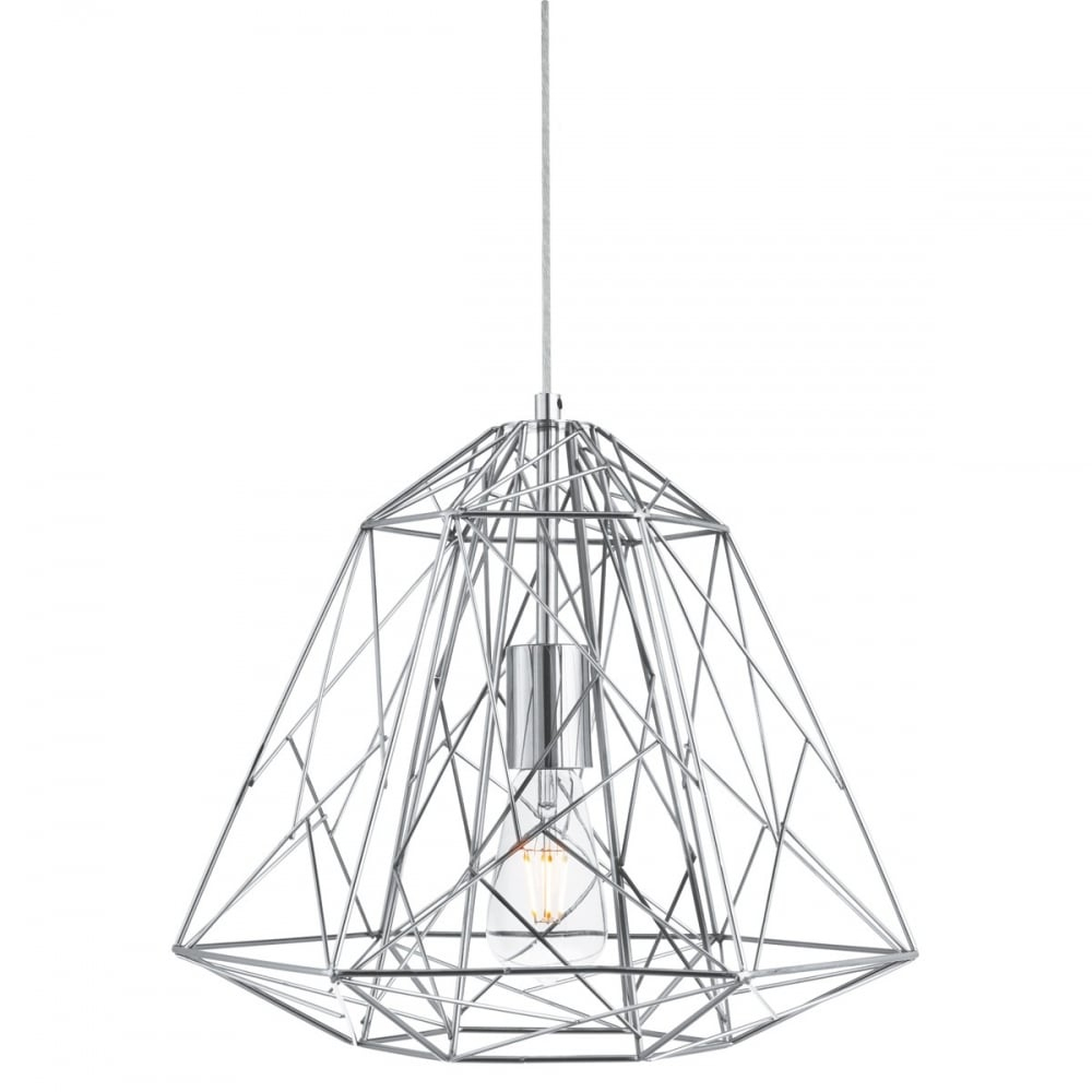Geometric – Cage 1 Light Frame Ceiling Pendant Chrome For 1 Light Unique / Statement Geometric Pendants (View 17 of 30)