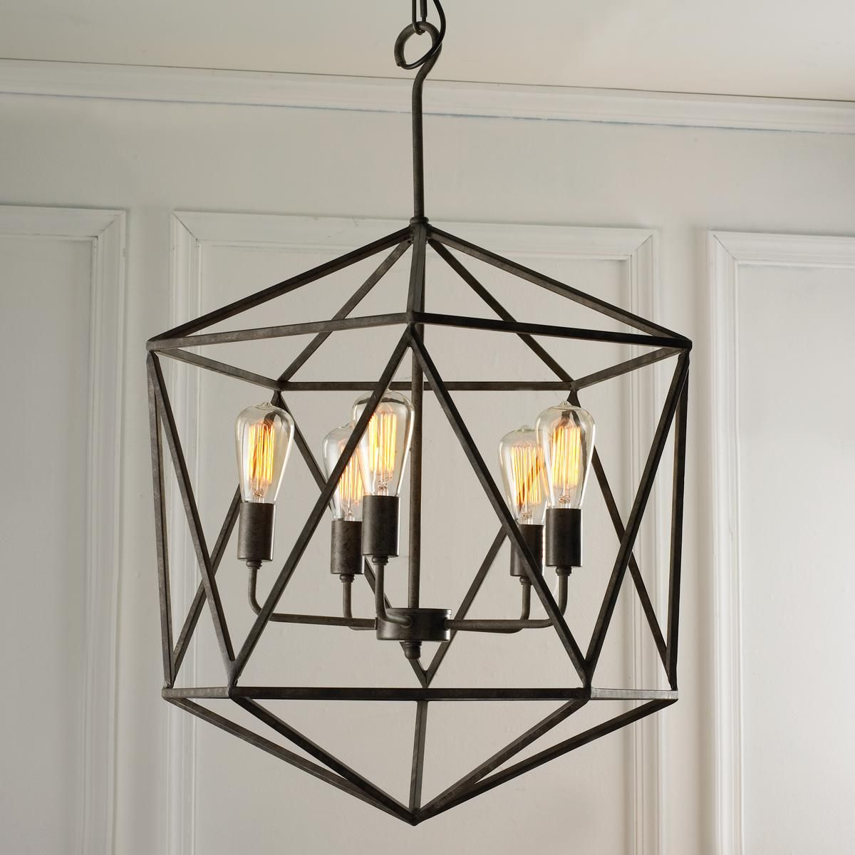 Geometric Gem Chandelier – 3 Light | Craftsman Style Home Throughout Hewitt 4 Light Square Chandeliers (View 14 of 30)