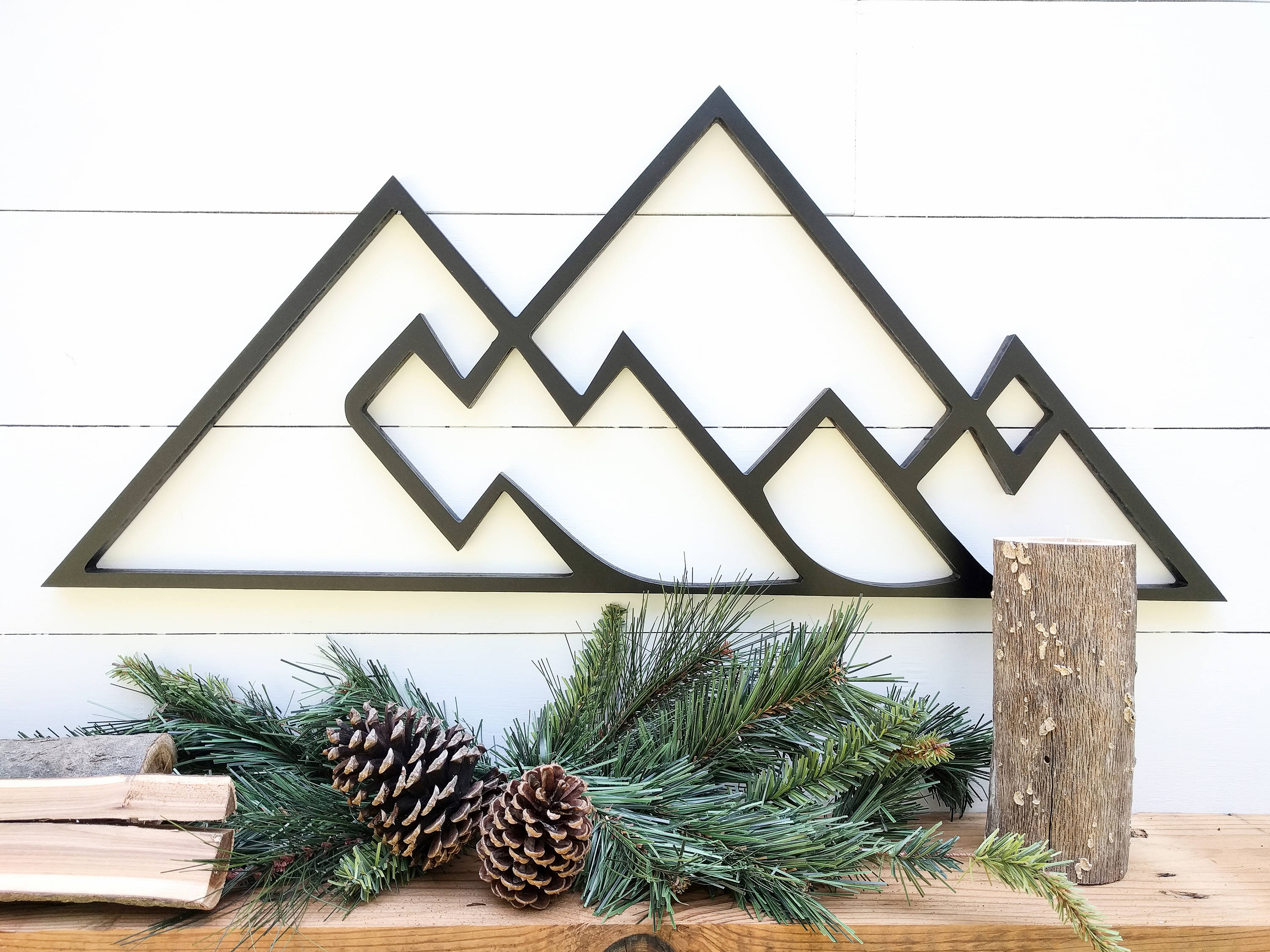 Geometric Mountains Wall Hanging | Geometric Woodland Theme Mountain Decor|  Mountain Range Wall Decor Available In 4 Sizes throughout Belle Circular Scroll Wall Decor (Image 9 of 30)