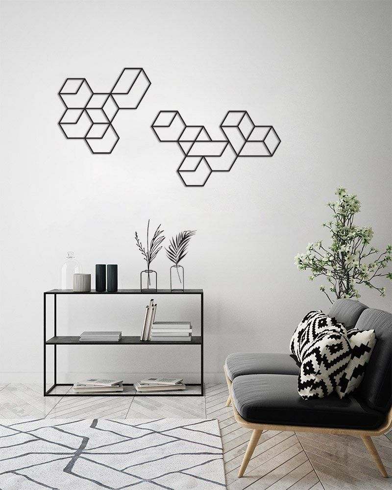 Geometric Wall Art, Wall Decor Set, Metal Wall Art, Large regarding Contemporary Geometric Wall Decor (Image 16 of 30)