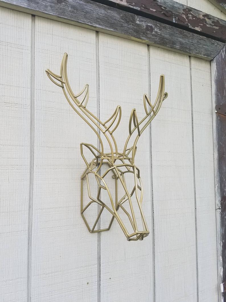 Geometric Wall Decor / Iron Deer Head / Metal Deer Art/ Deer Antler/ Large Deer Head / Faux Taxidermy / Stag Head/ Metal Wall Art Regarding Large Deer Head Faux Taxidermy Wall Decor (View 18 of 30)