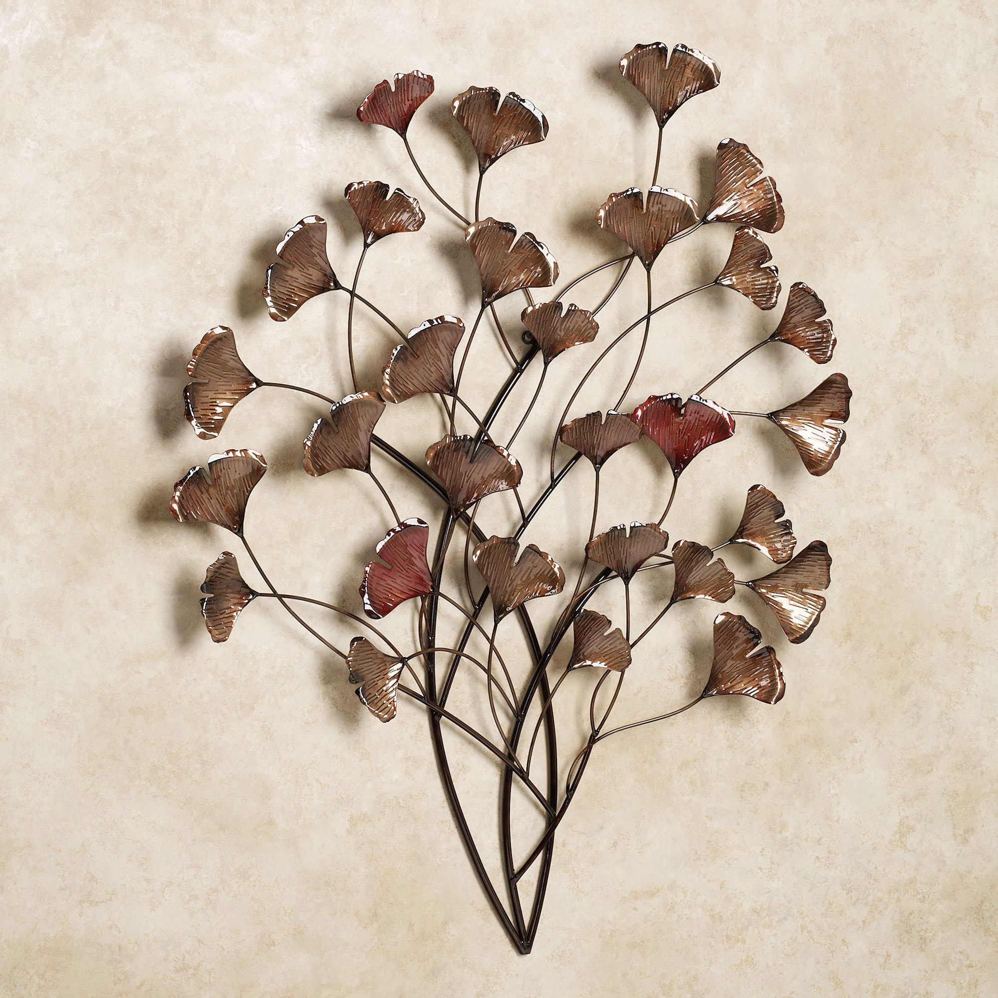 Ginkgo Whispers Metal Wall Sculpture regarding Leaves Metal Sculpture Wall Decor (Image 17 of 30)
