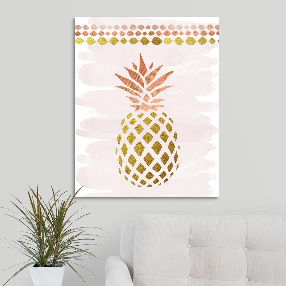 """glam Pineapple""amanda Murray Canvas Wall Art Regarding Pineapple Wall Decor (View 5 of 30)"